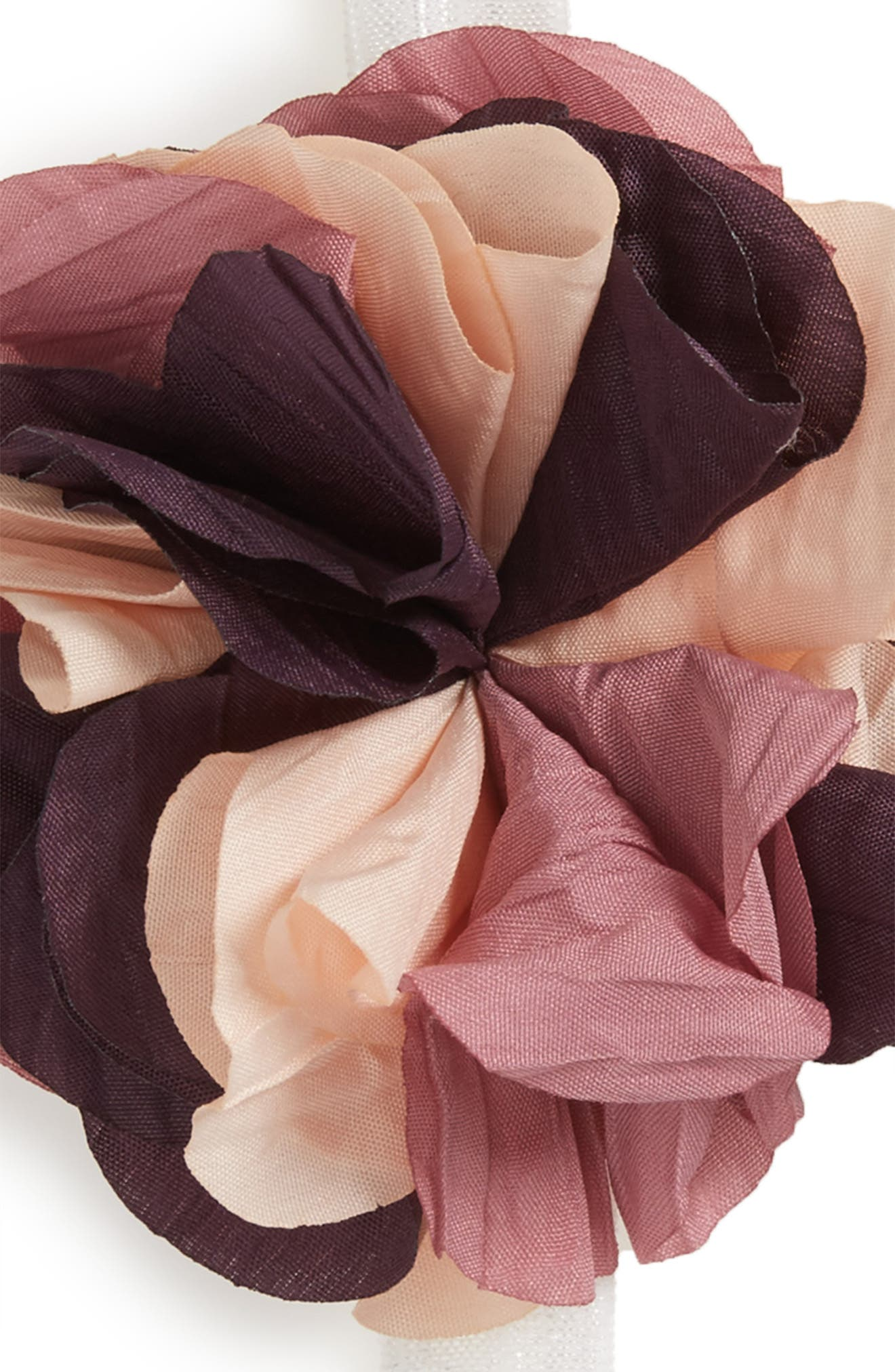 Alternate Image 2  - PLH Bows & Laces Crinkle Flower 2-Pack Headbands (Baby Girls)