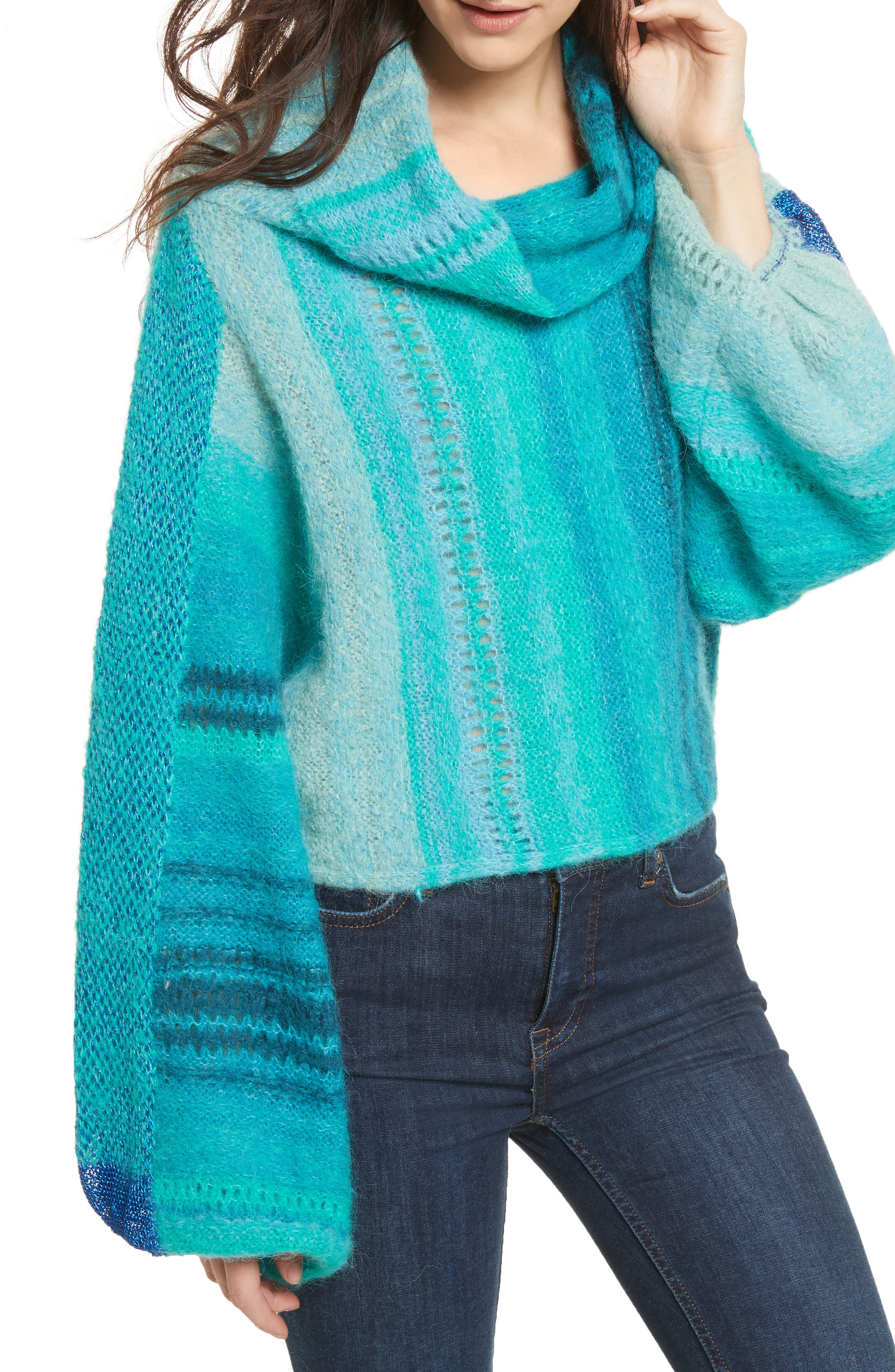 Cloud Kicker Sweater,                             Alternate thumbnail 4, color,                             Blue Combo