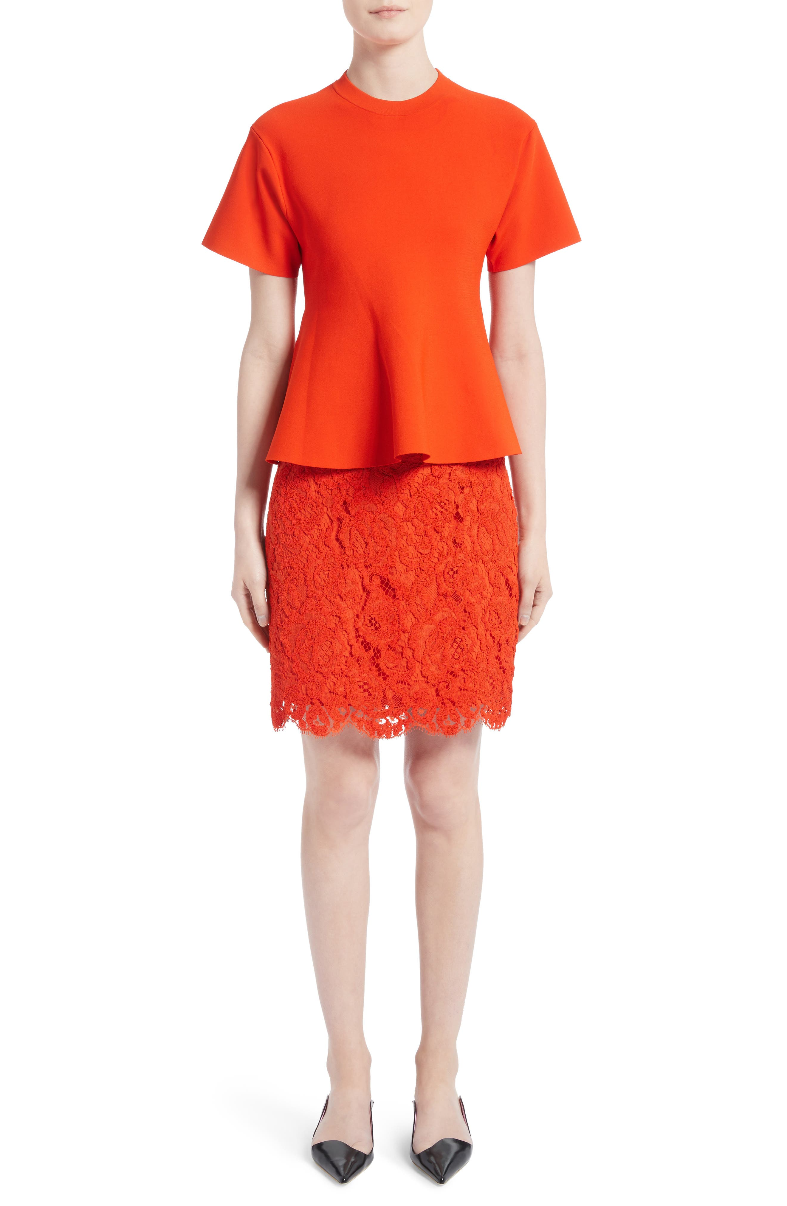 Corded Lace Miniskirt,                             Alternate thumbnail 6, color,                             Coral