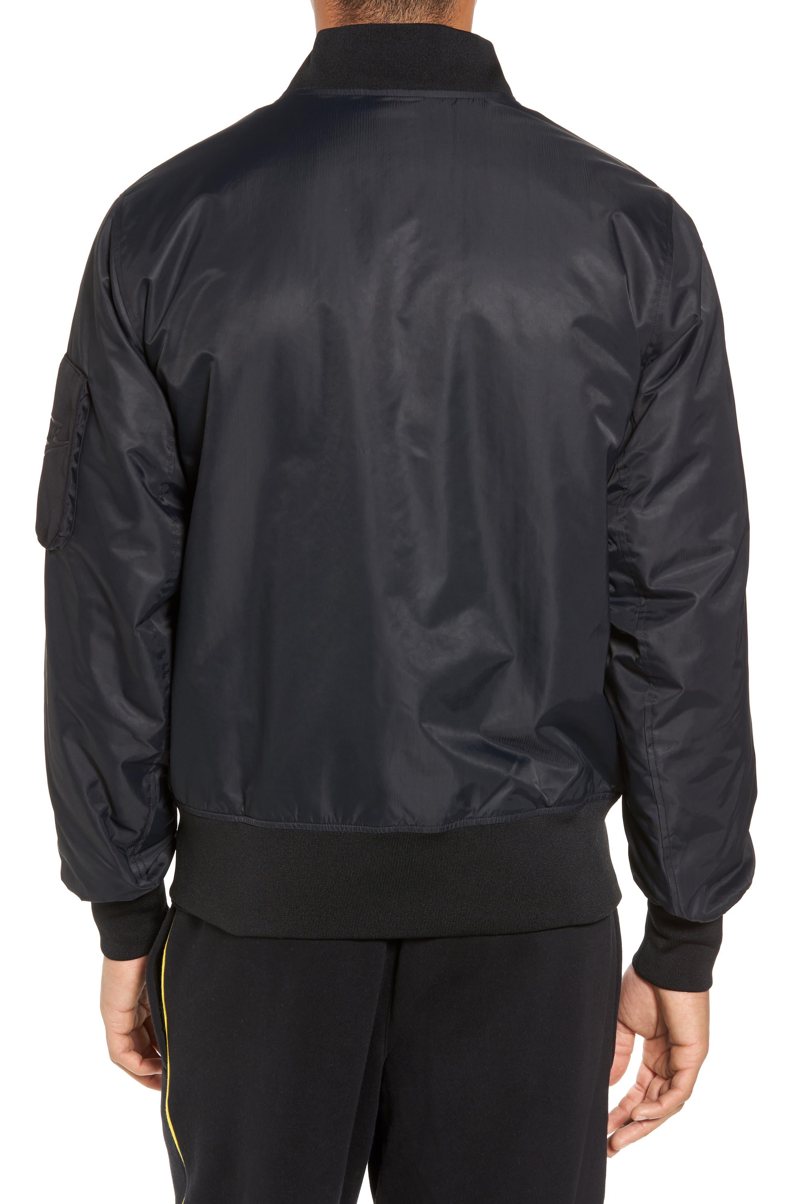 NSW Air Max Woven Bomber Jacket,                             Alternate thumbnail 3, color,                             Black/ Black
