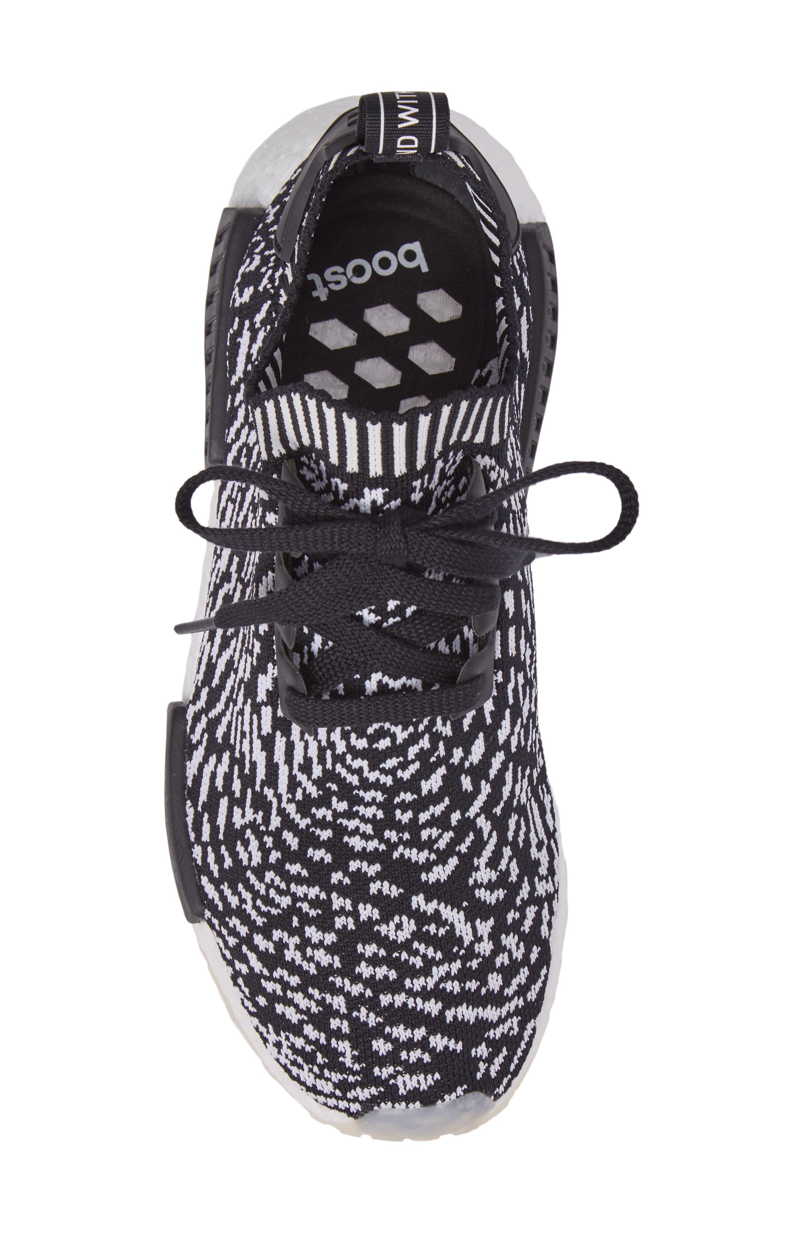 NMD R1 Primeknit Sneaker,                             Alternate thumbnail 5, color,                             Core Black/ Core Black/ White