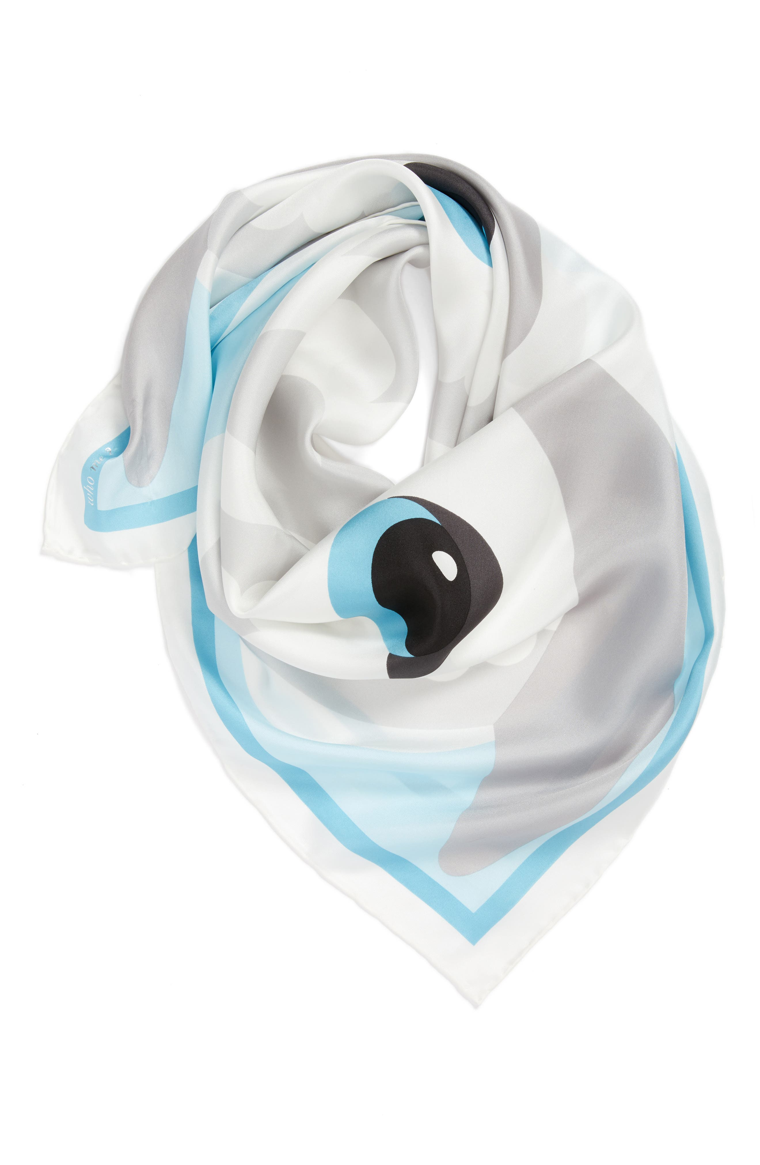 owl silk square scarf,                             Alternate thumbnail 3, color,                             Cream