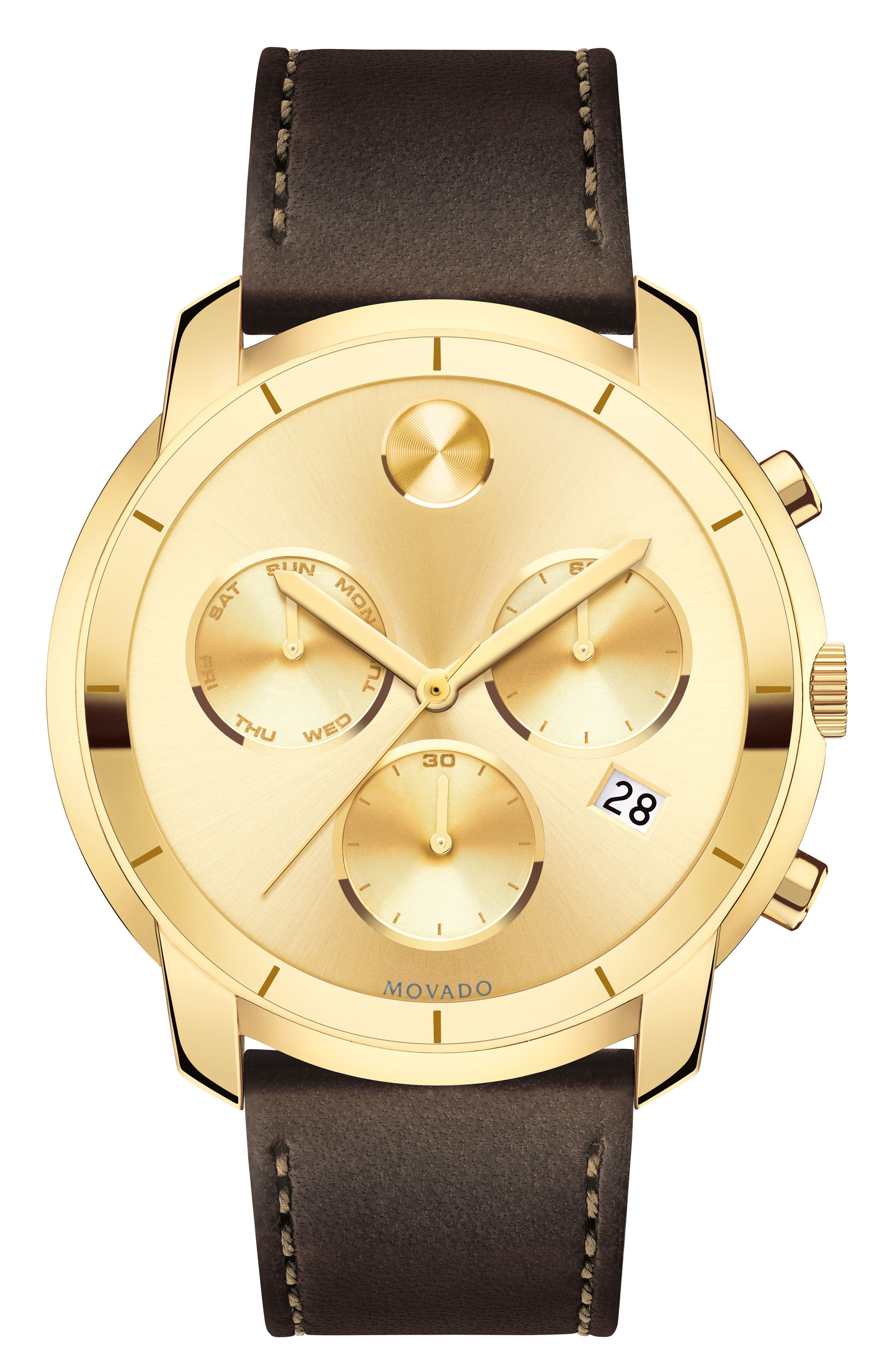 Alternate Image 1 Selected - Movado Bold Thin Chronograph Leather Strap Watch, 44mm