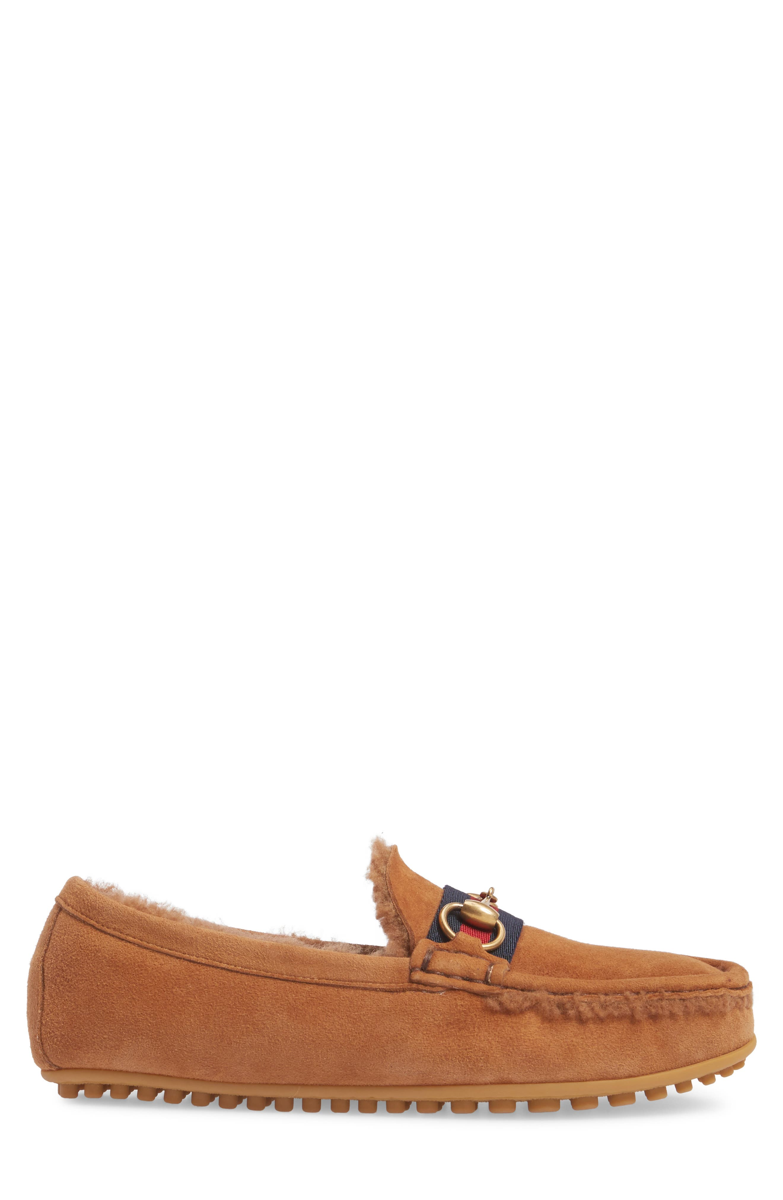 Driving Shoe with Genuine Shearling,                             Alternate thumbnail 3, color,                             Dark Tan