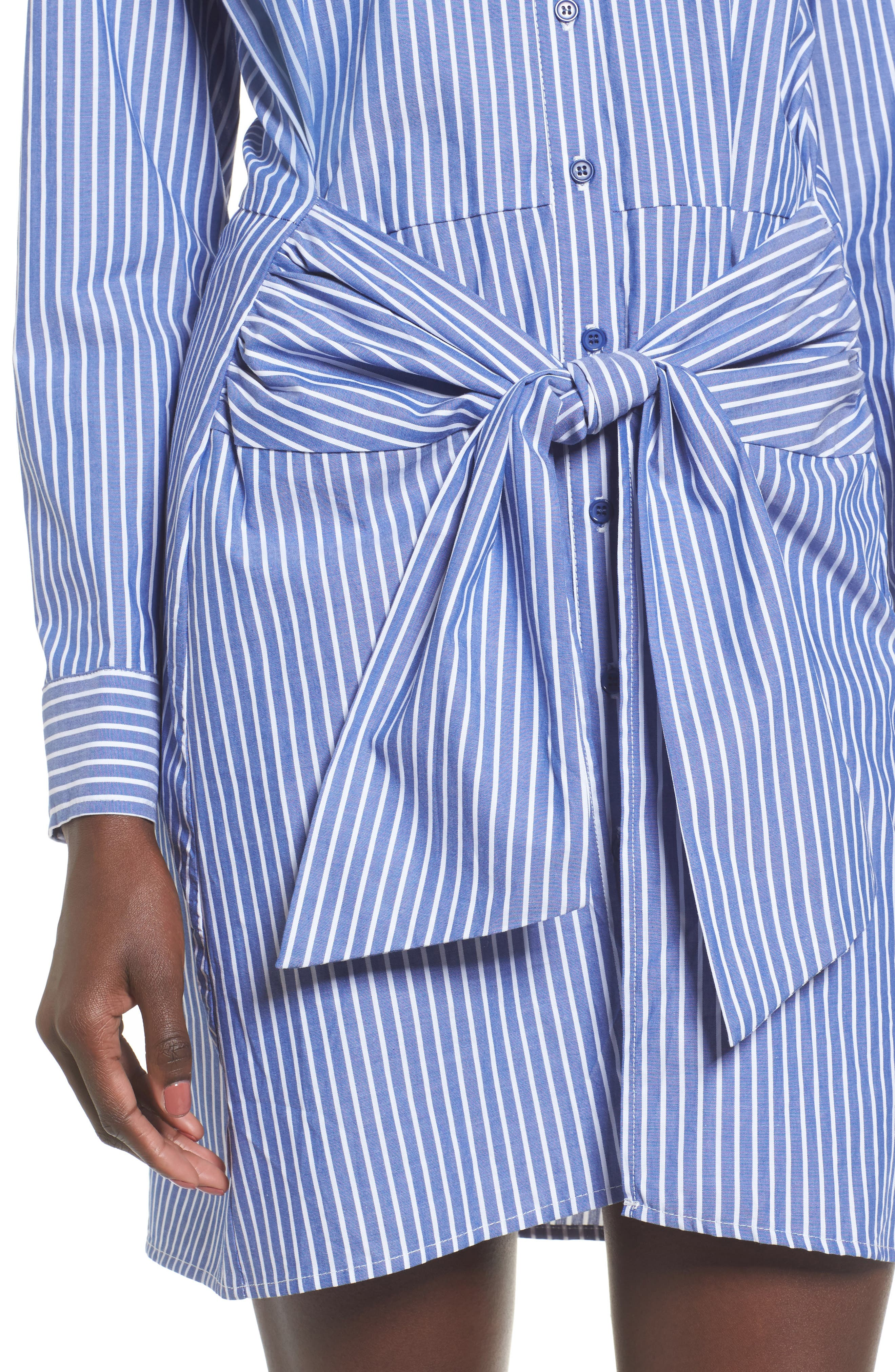Tie Front Stripe Shirtdress,                             Alternate thumbnail 4, color,                             Blue White Stripe