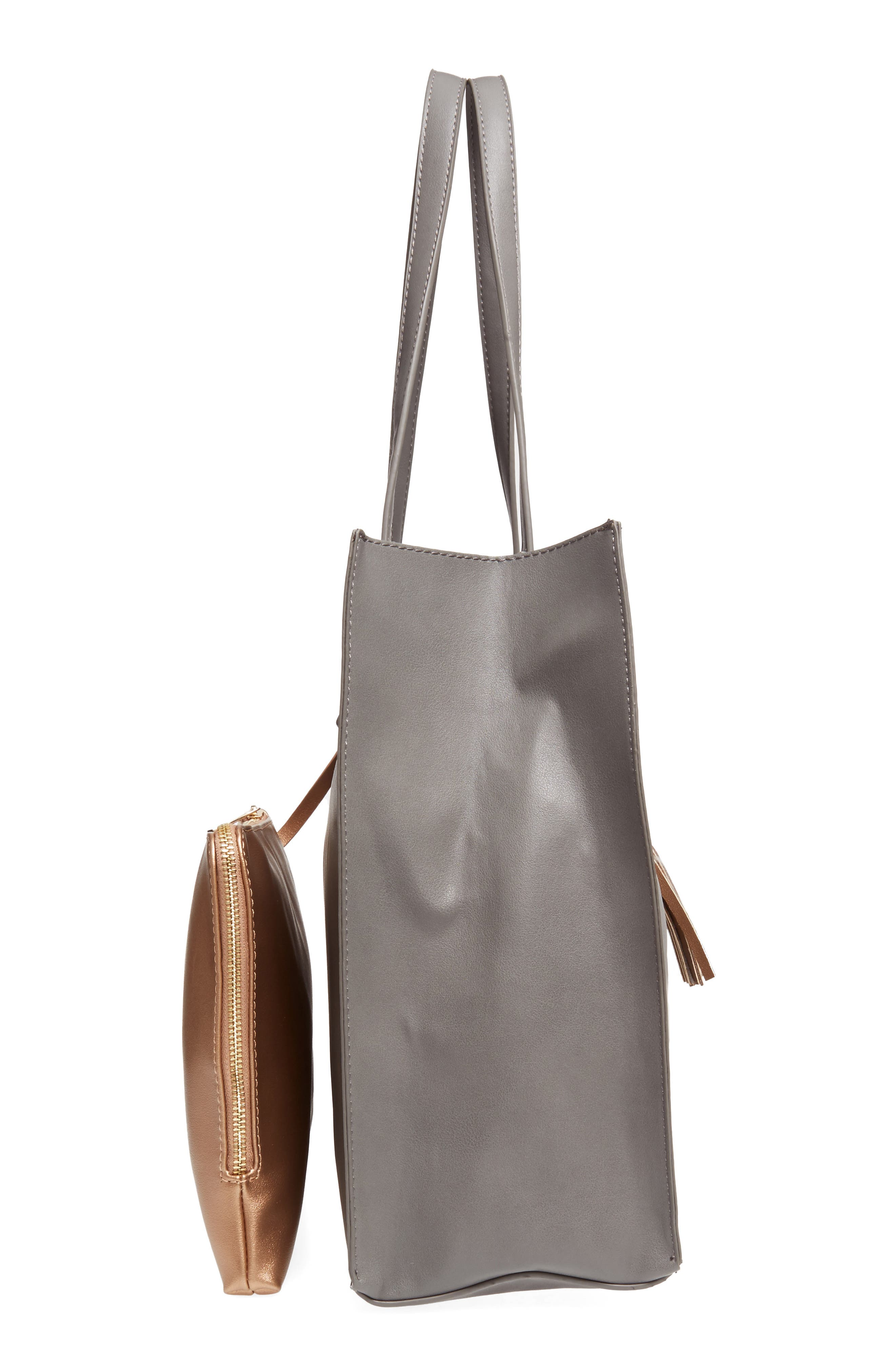 Faux Leather Tote & Pouch,                             Alternate thumbnail 4, color,                             Grey Multi