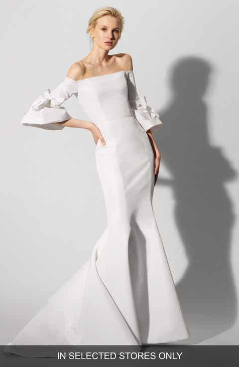 Womens carolina herrera wedding dresses bridal gowns nordstrom carolina herrera faye off the shoulder silk faille mermaid gown junglespirit Gallery