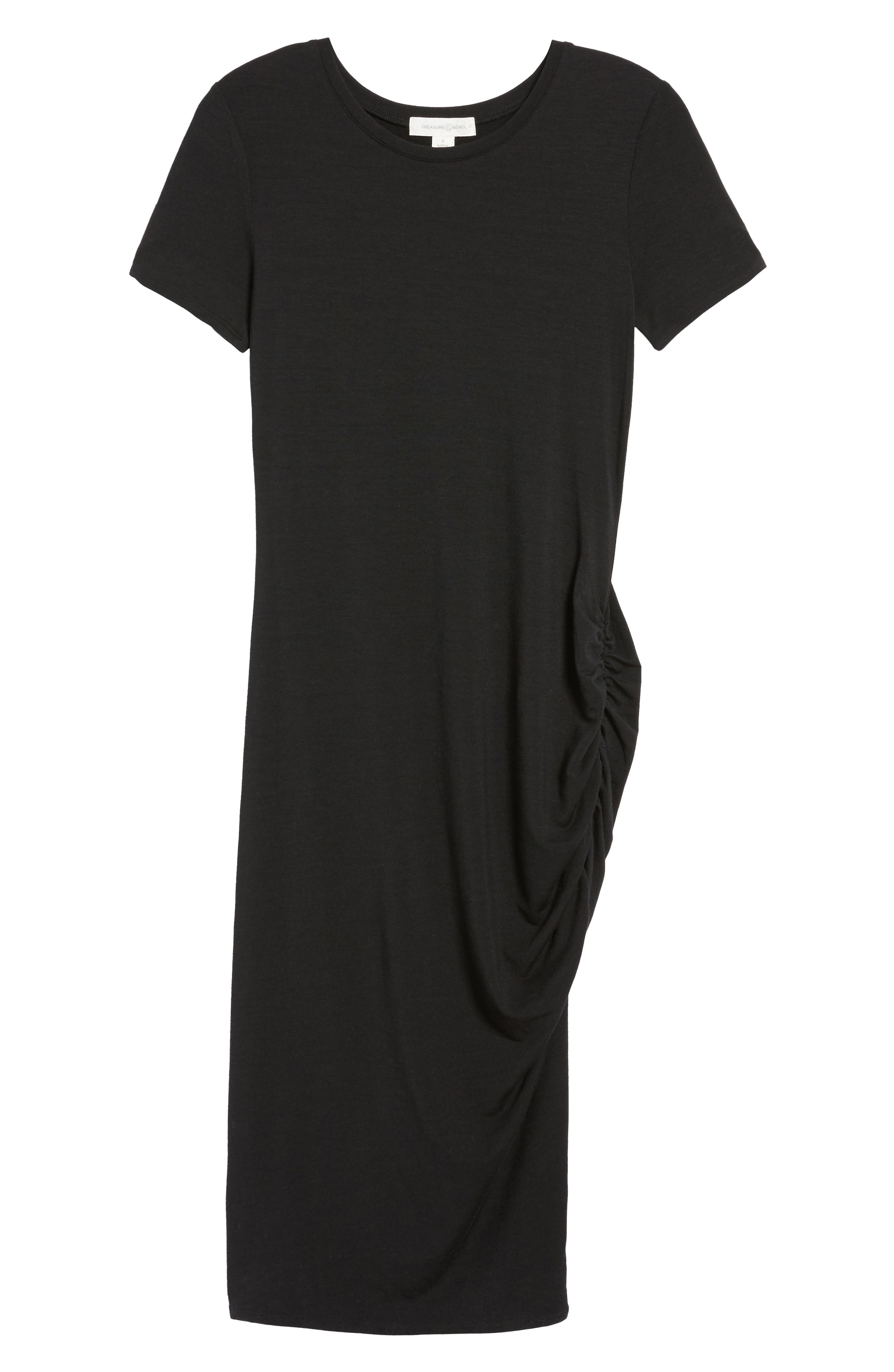 Side Ruched Body-Con Dress,                             Alternate thumbnail 7, color,                             Black