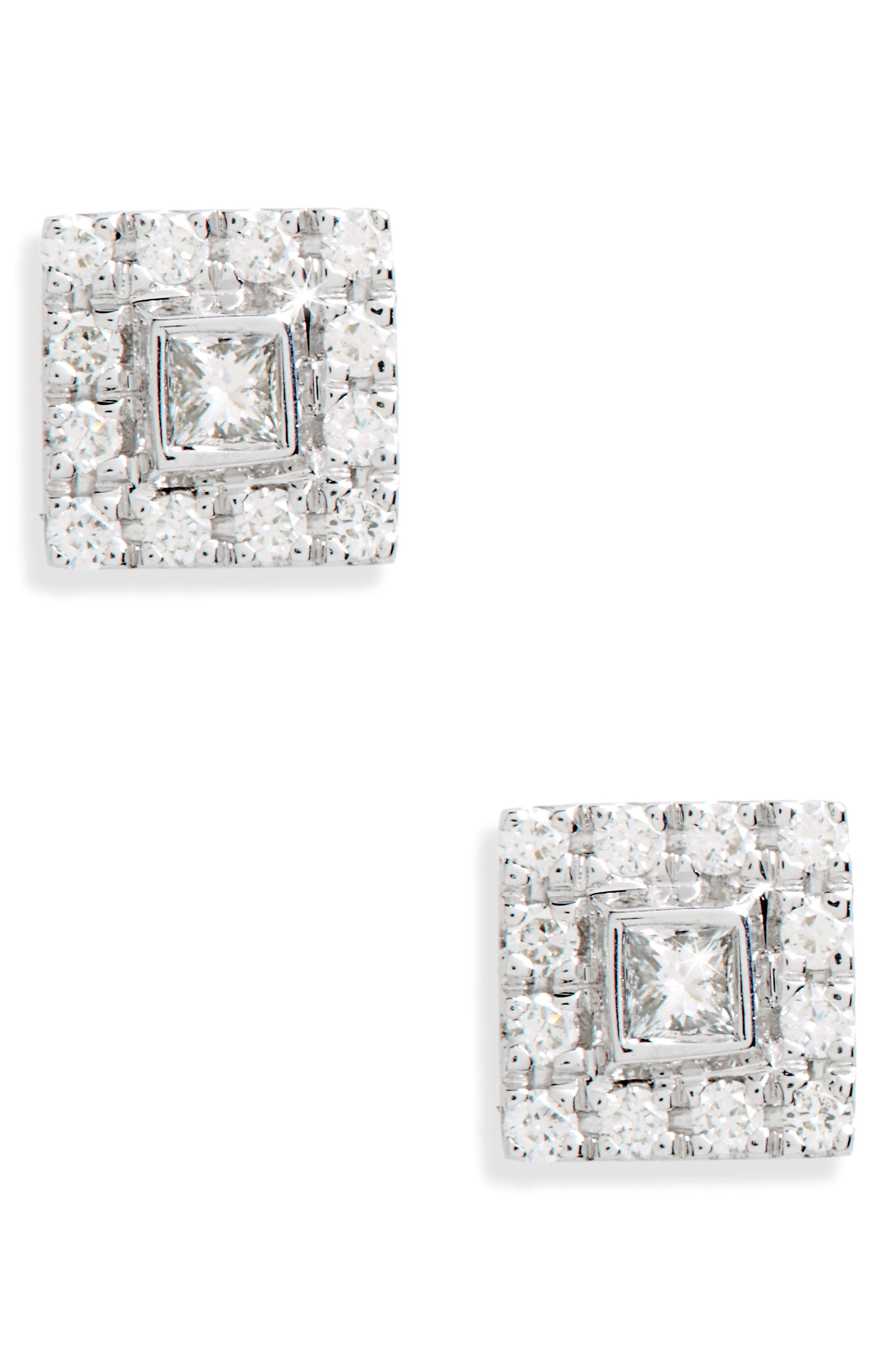 Amara Small Square Diamond Stud Earrings,                         Main,                         color, White Gold