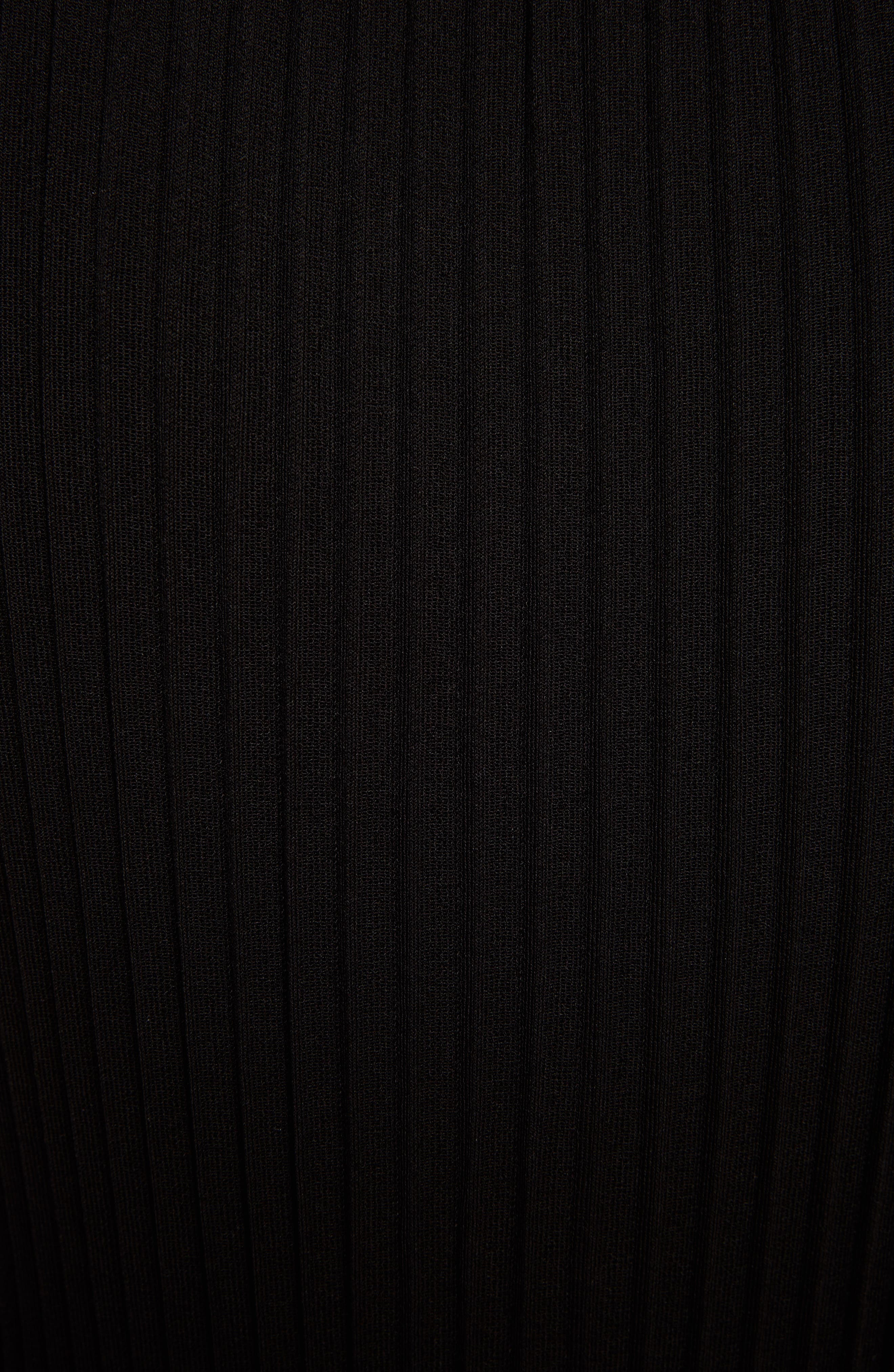 Ribbed Ruffle Hem Dress,                             Alternate thumbnail 5, color,                             Black