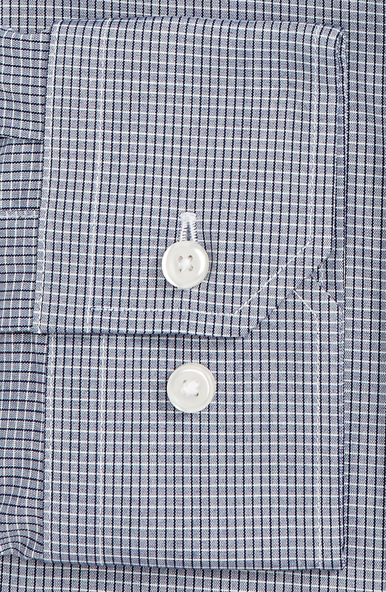 Trim Fit Stretch No-Iron Check Dress Shirt,                             Alternate thumbnail 2, color,                             Navy Patriot