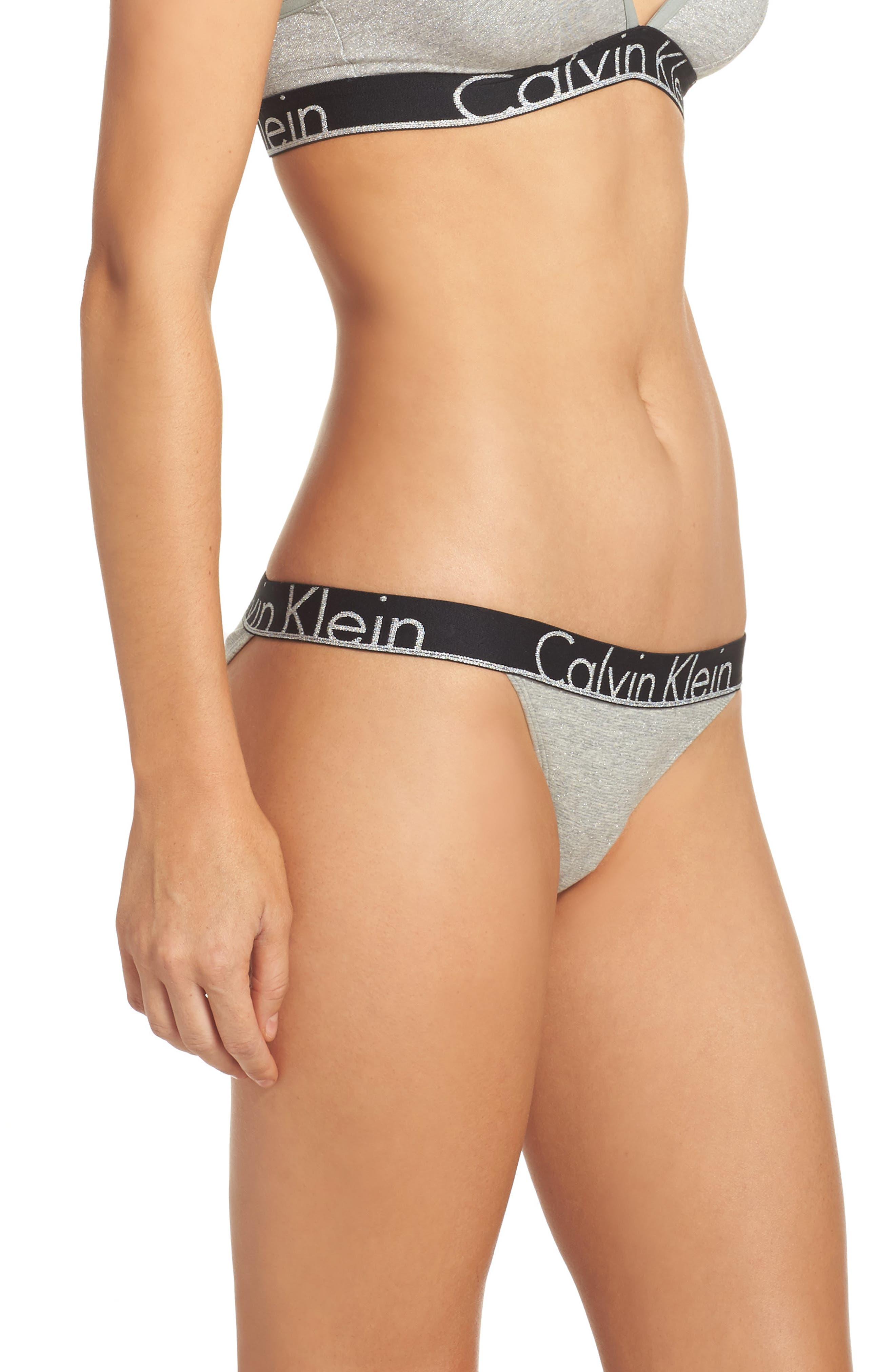 Logo Bikini,                             Alternate thumbnail 3, color,                             Grey Heather With Silver Lurex