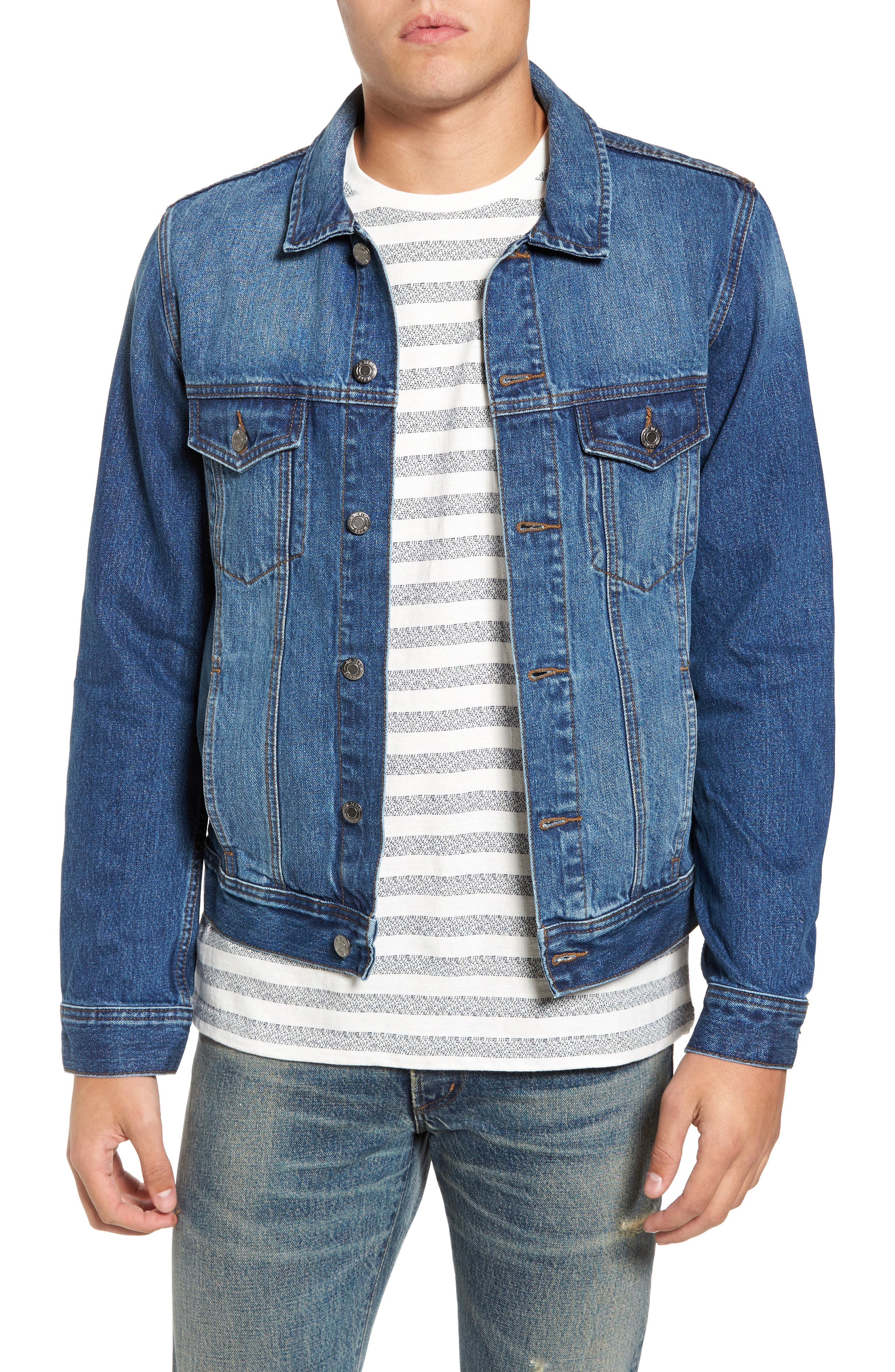 Dwight Denim Jacket,                             Main thumbnail 1, color,                             Worn Mid Blue
