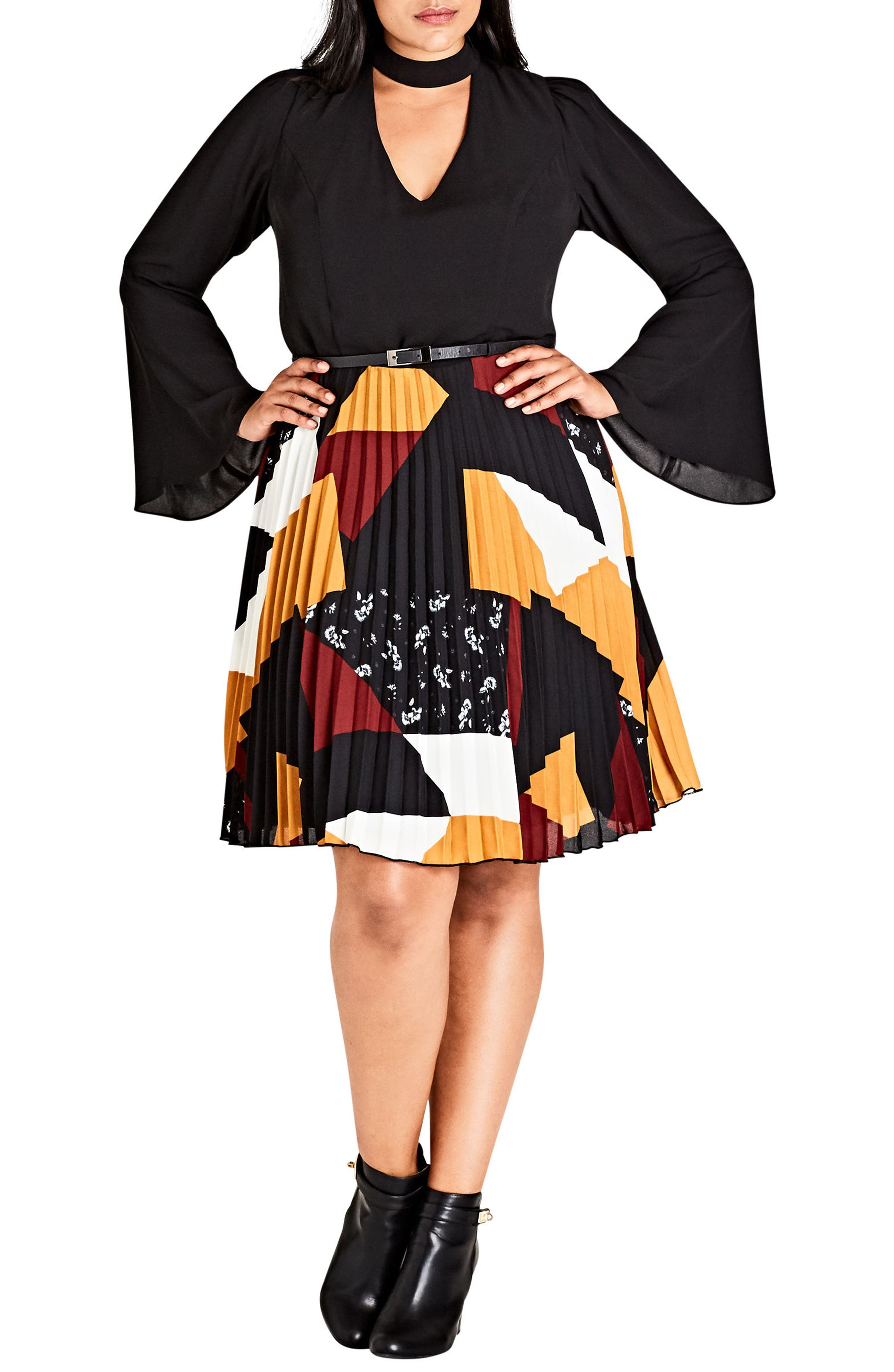 Bell Patchwork Fit & Flare Dress,                         Main,                         color, Patch Work