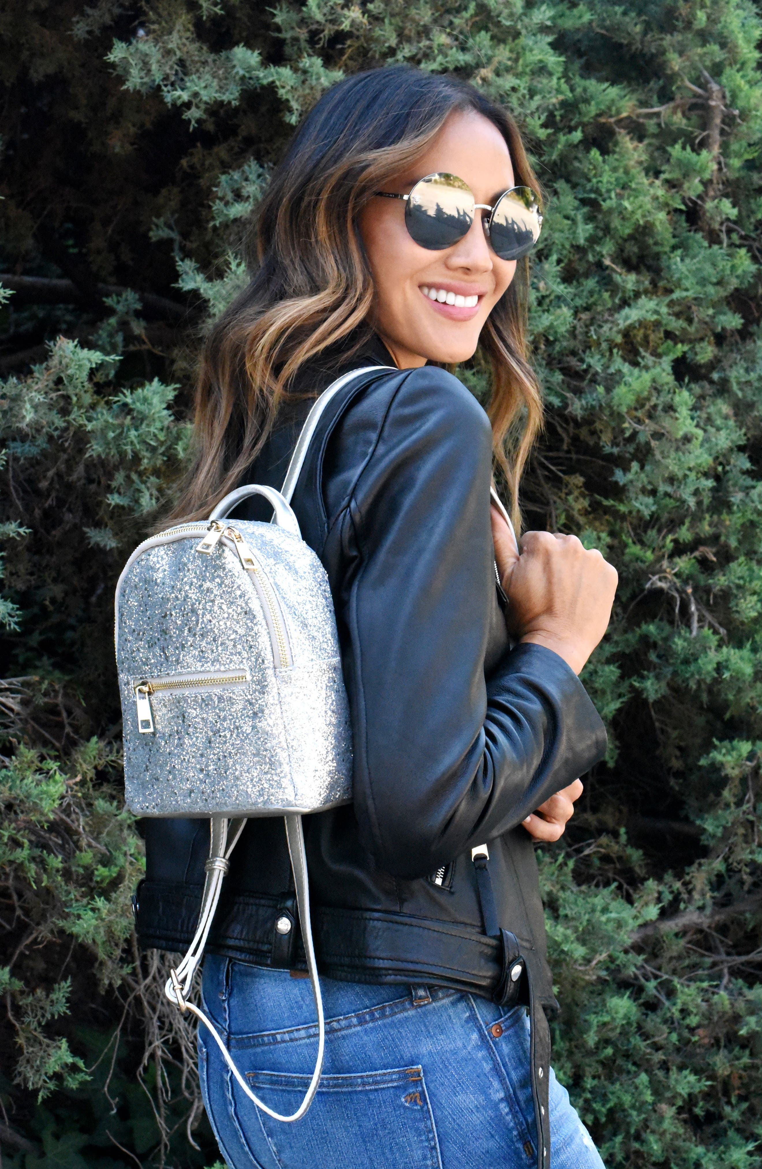 Mali + Lili Glitter Vegan Leather Backpack,                             Alternate thumbnail 7, color,
