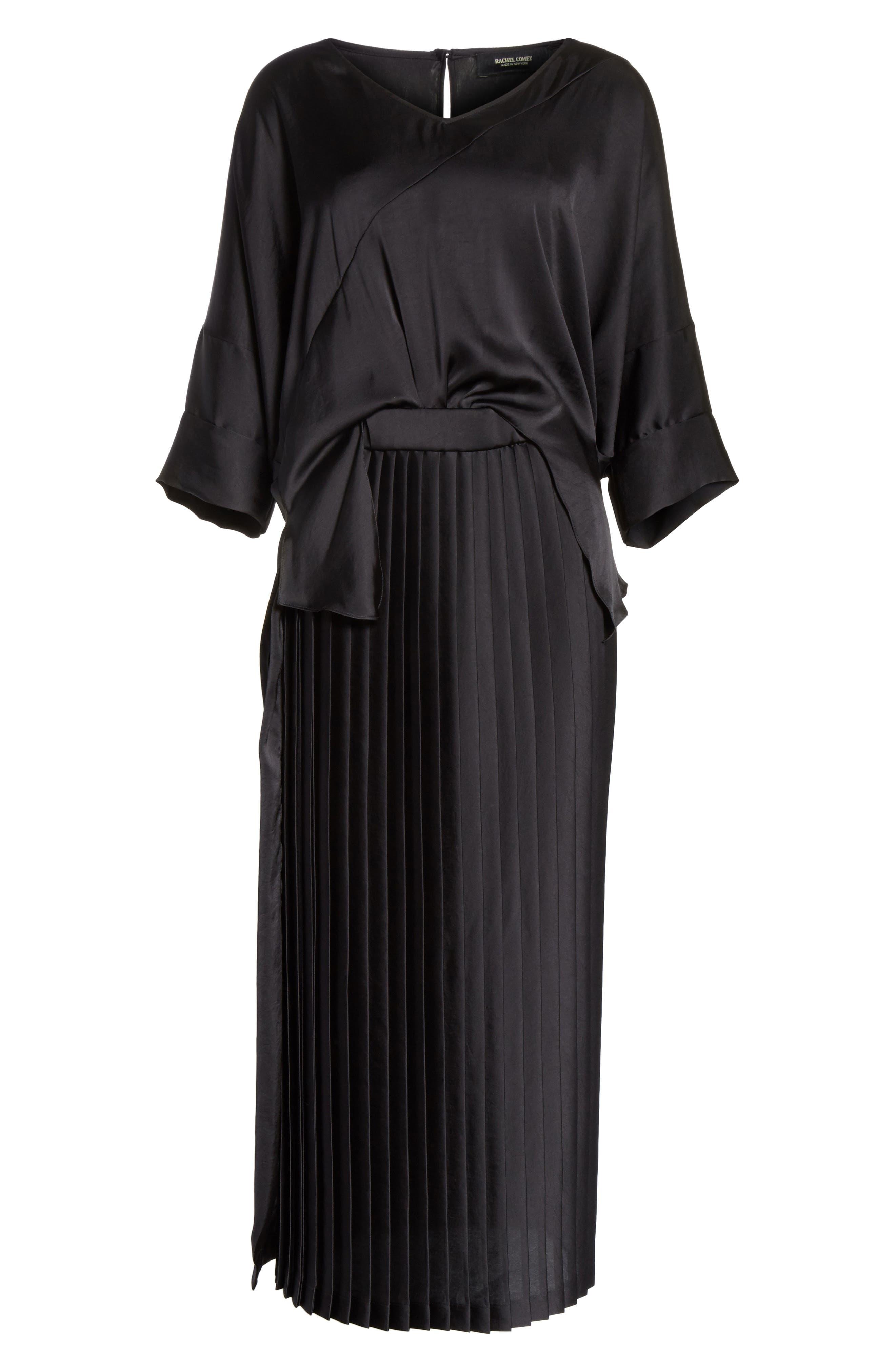Mure Satin Midi Dress,                             Alternate thumbnail 6, color,                             Black