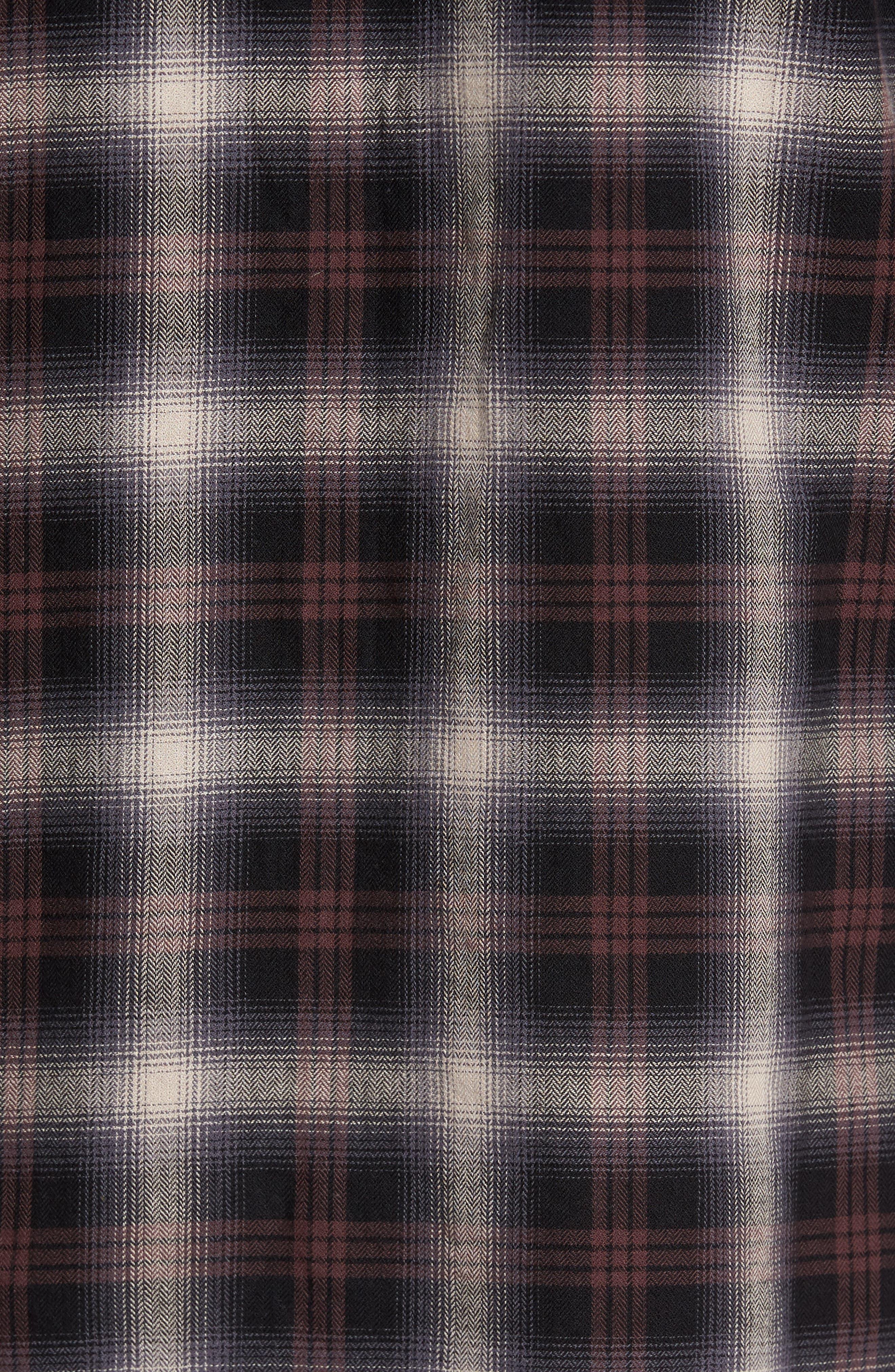 Colton Slim Fit Plaid Sport Shirt,                             Alternate thumbnail 5, color,                             7 Years Beige/ Deep Mahogany