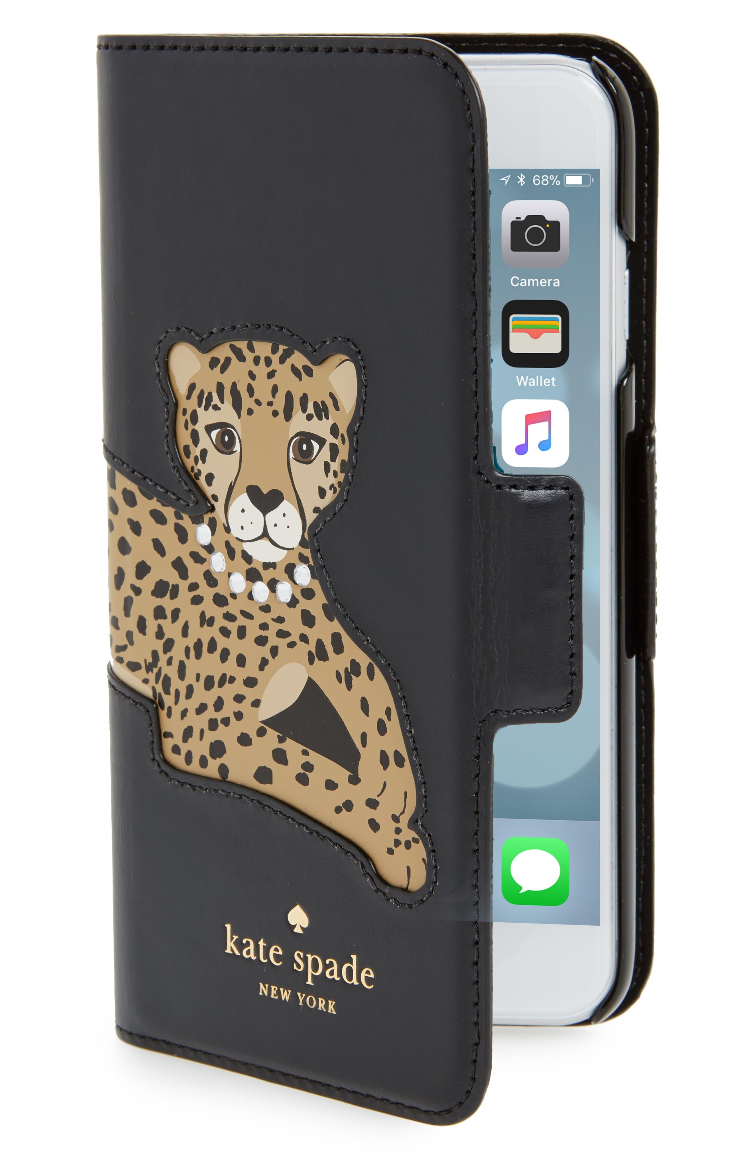 kate spade new york cheetah appliqué iPhone 7/8 folio case