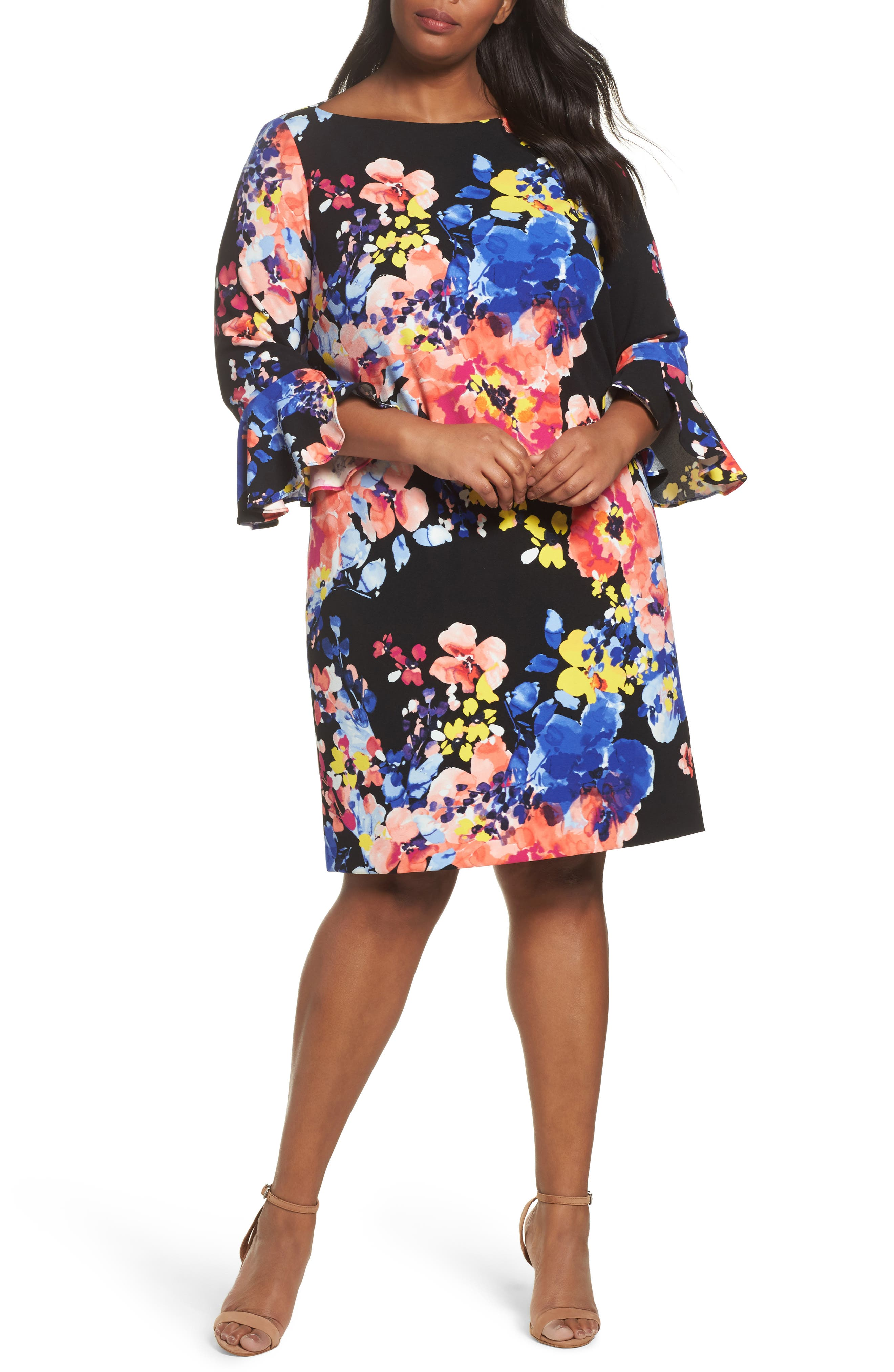 Main Image - Tahari Print Ruffle Sleeve Shift Dress (Plus Size)