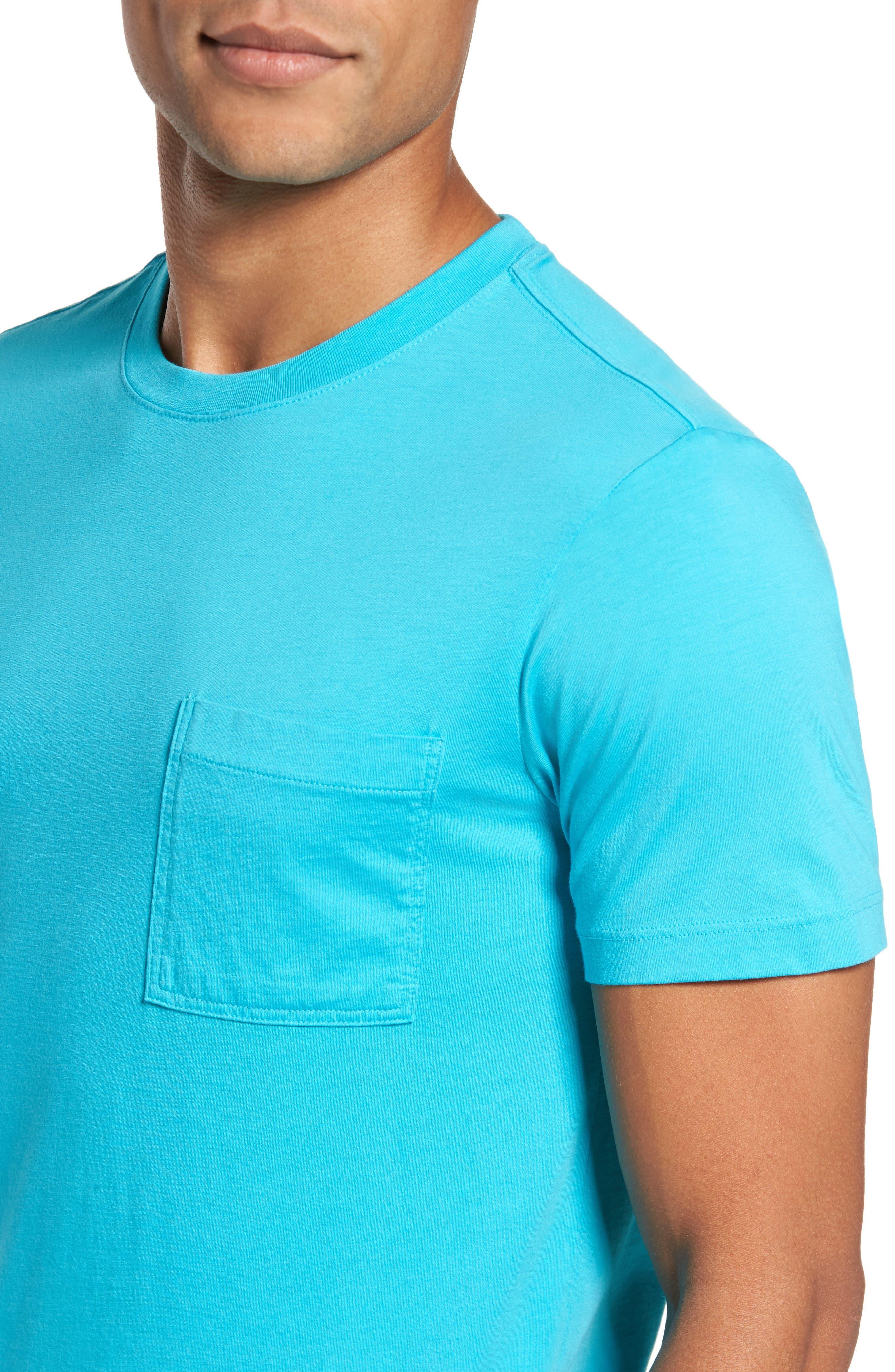 Classic Fit Pocket T-Shirt,                             Alternate thumbnail 4, color,                             Azure