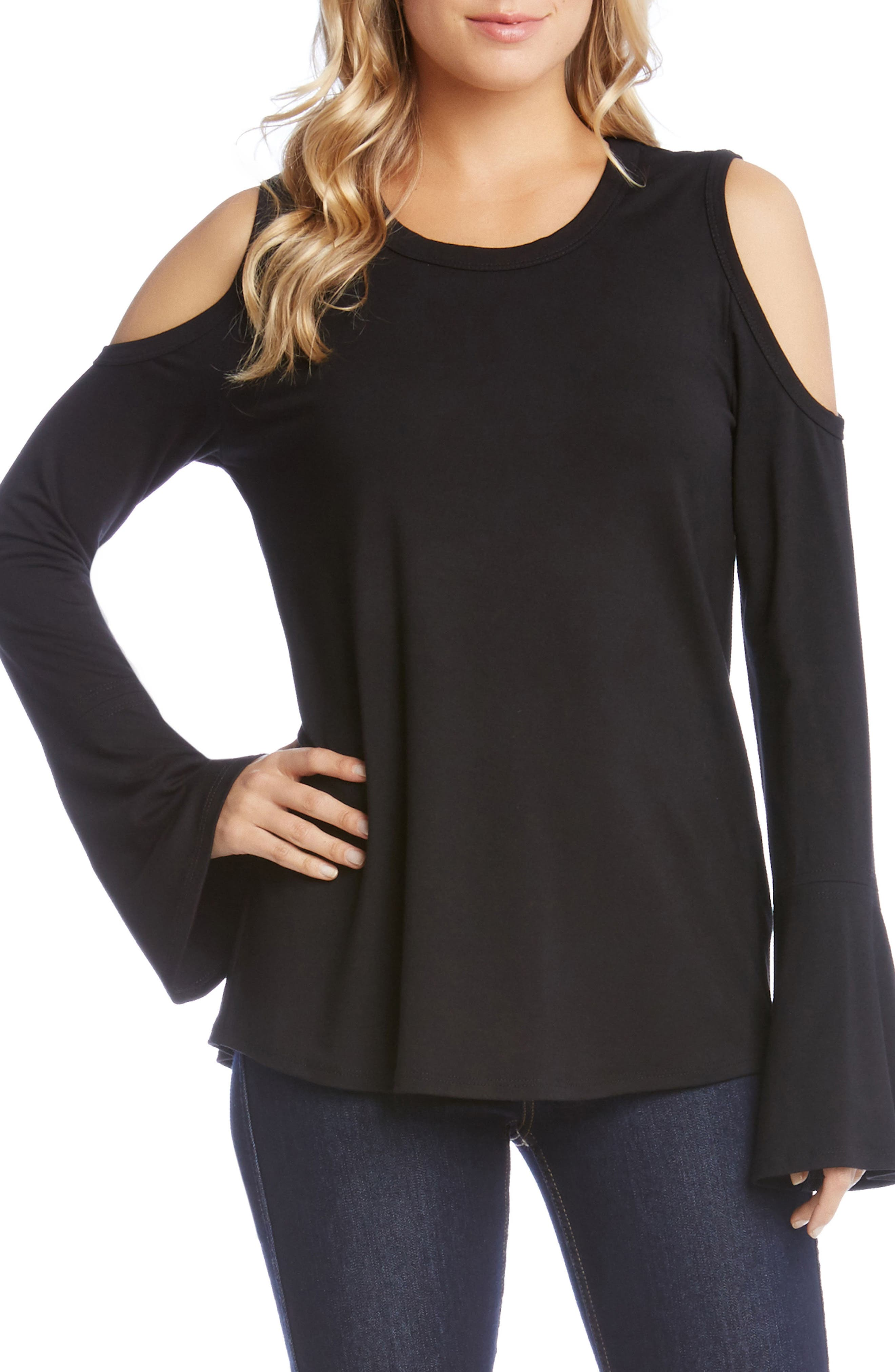 Cold Shoulder Bell Sleeve Top,                             Main thumbnail 1, color,                             Black