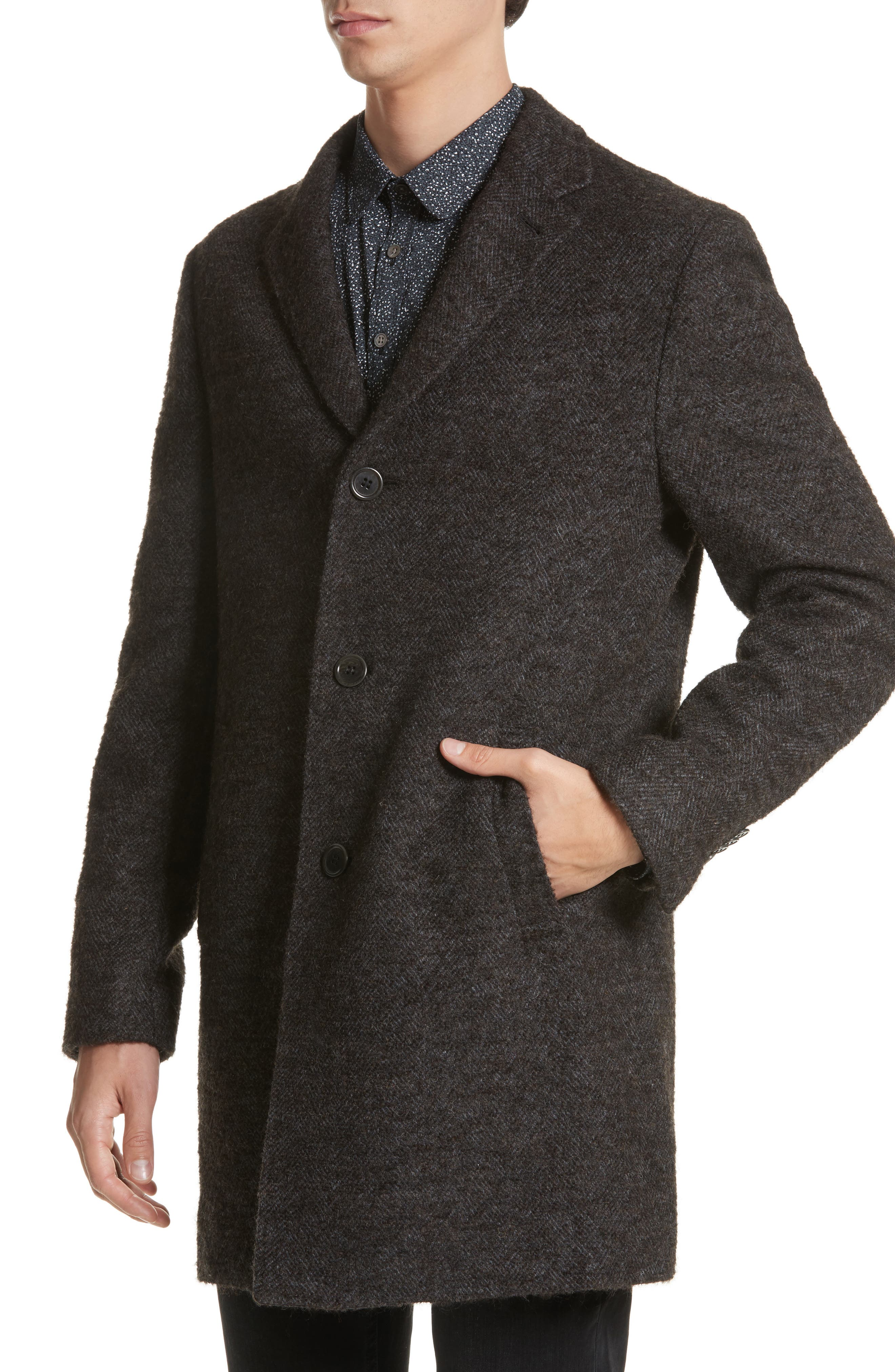 Walsh Wool Blend Topcoat,                             Alternate thumbnail 4, color,                             Brown/ White