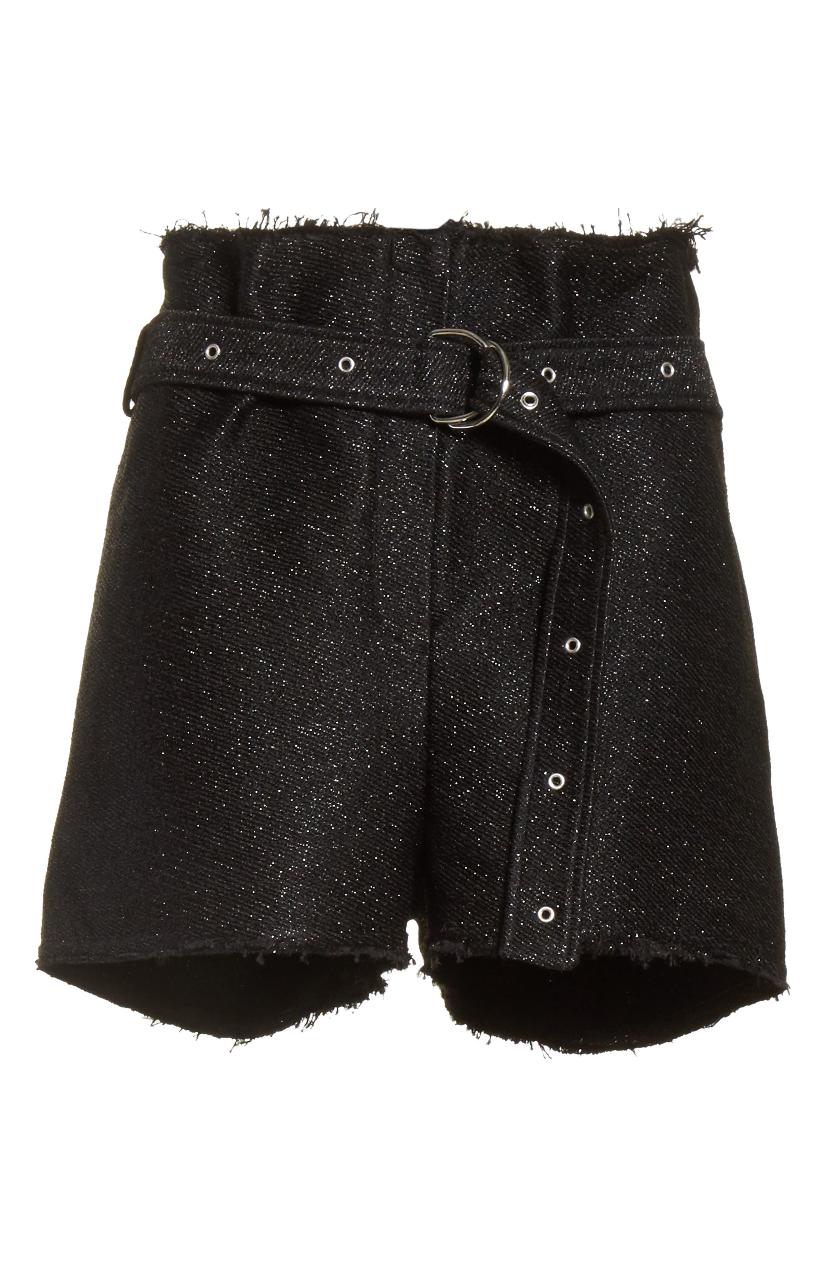 Chopan Belted Paper Bag Shorts,                             Alternate thumbnail 6, color,                             Black