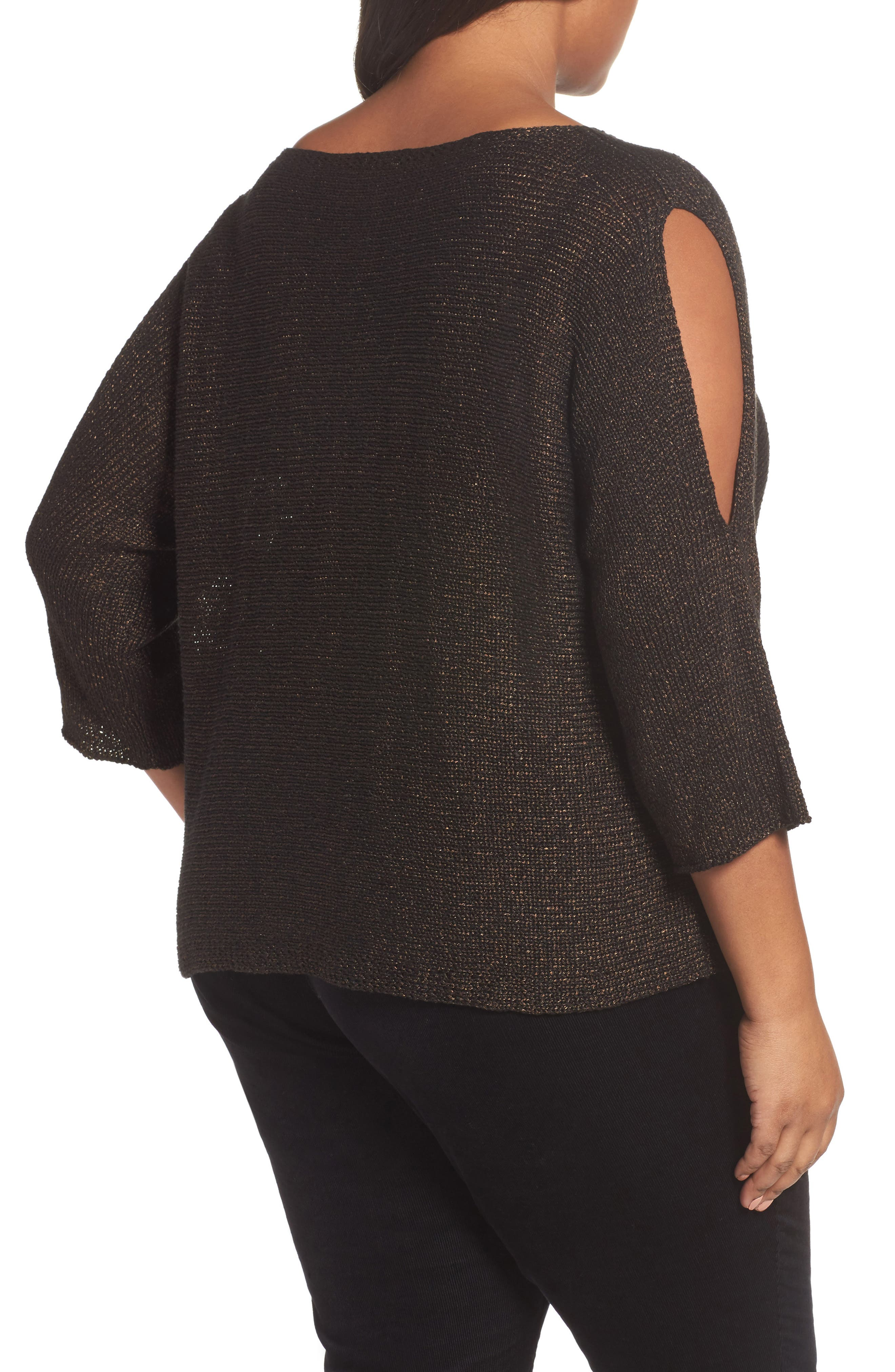 Alternate Image 2  - Eileen Fisher Metallic Organic Linen Blend Sweater (Plus Size)