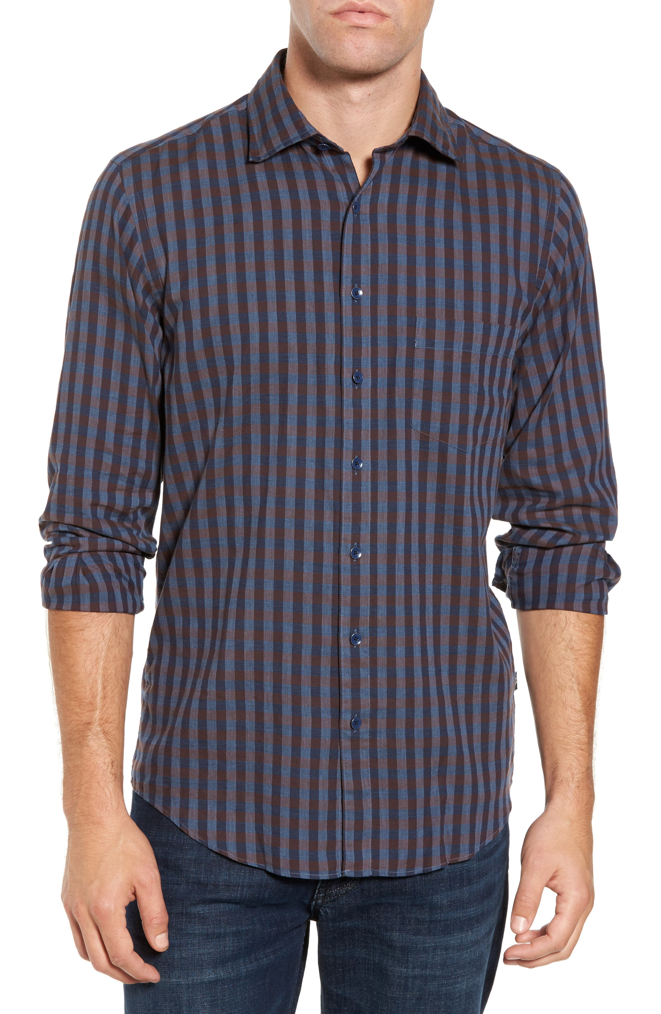 Gisborne Point Check Sport Shirt,                         Main,                         color, River