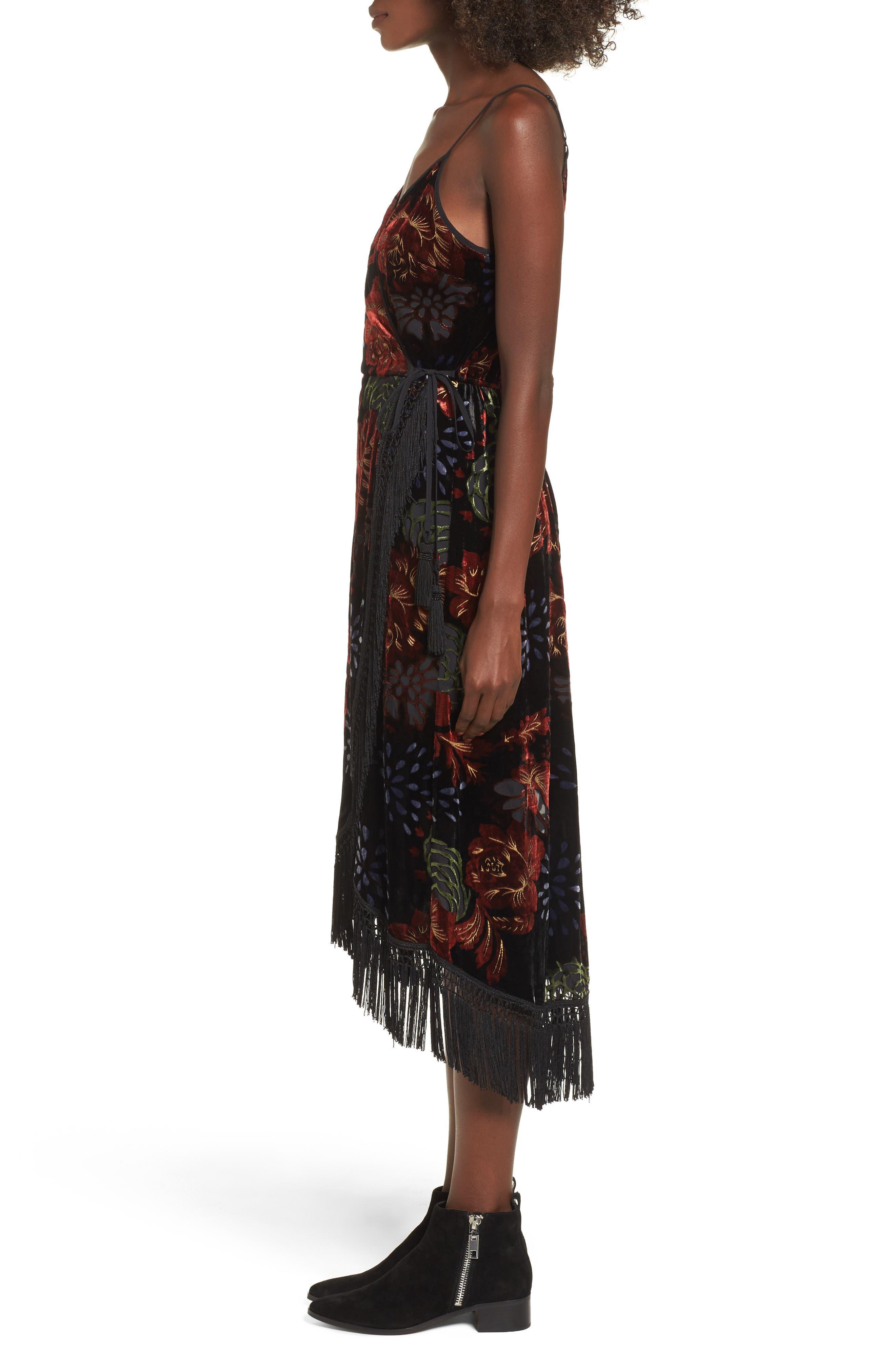Romantic Burnout Wrap Dress,                             Alternate thumbnail 3, color,                             Black Brick