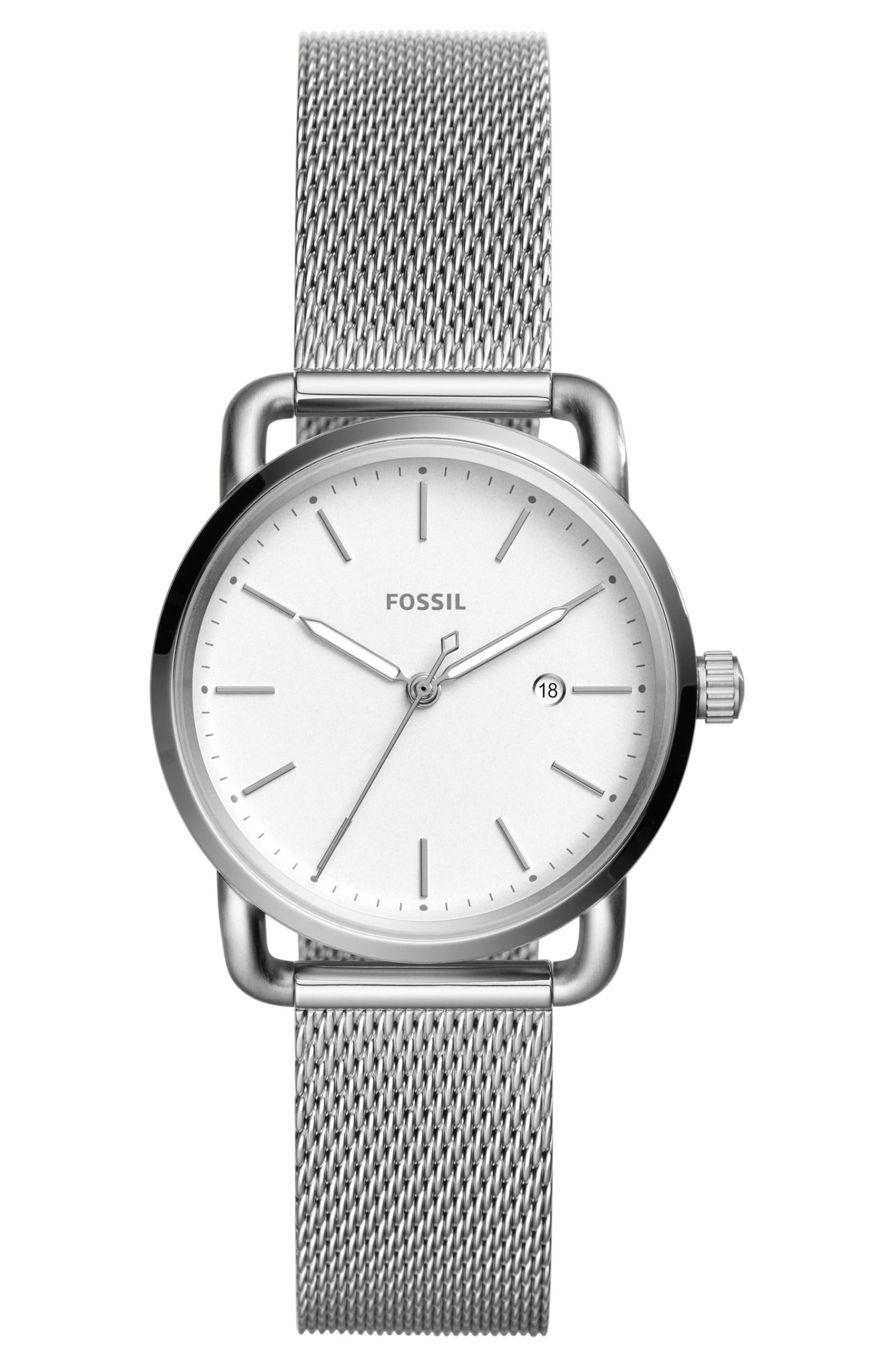 The Commuter Mesh Strap Watch, 34mm,                             Main thumbnail 1, color,                             Silver