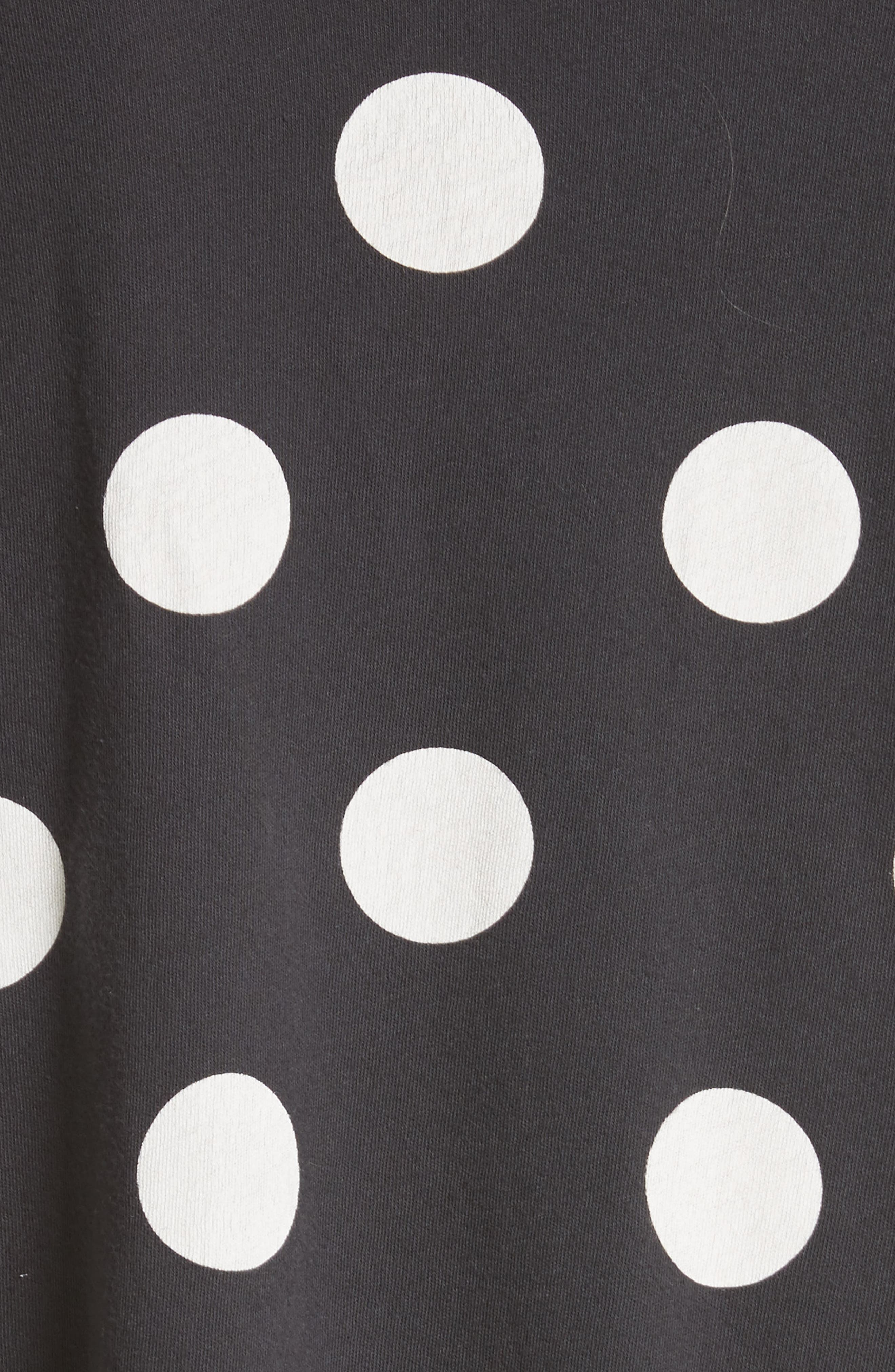 The Long Sleeve Crop Dot Print Tee,                             Alternate thumbnail 6, color,                             Washed Black White Dots