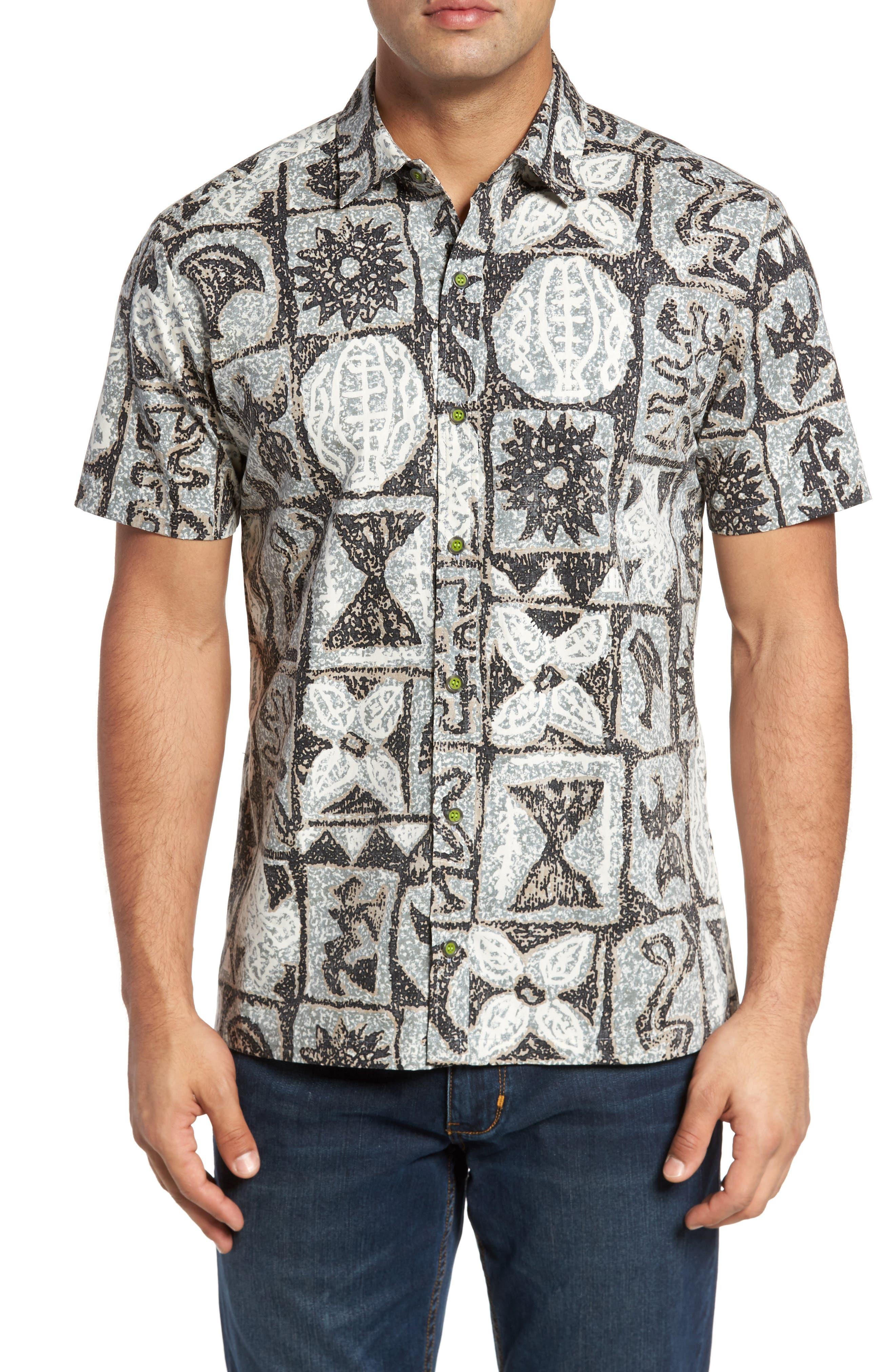 Poi Pounder Trim Fit Print Sport Shirt,                             Main thumbnail 1, color,                             Black