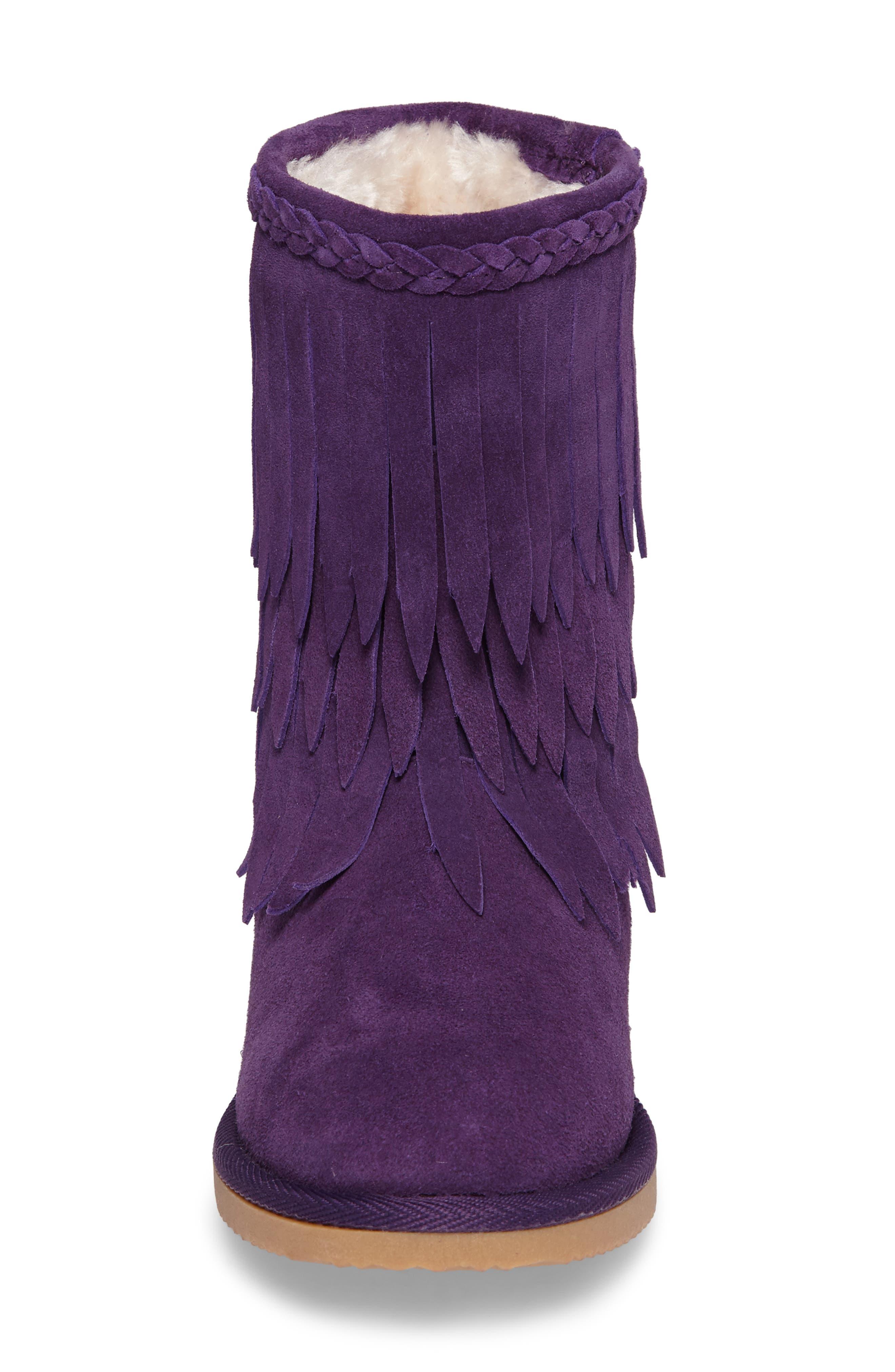 Elissa Faux Fur Fringed Bootie,                             Alternate thumbnail 4, color,                             Purple Suede