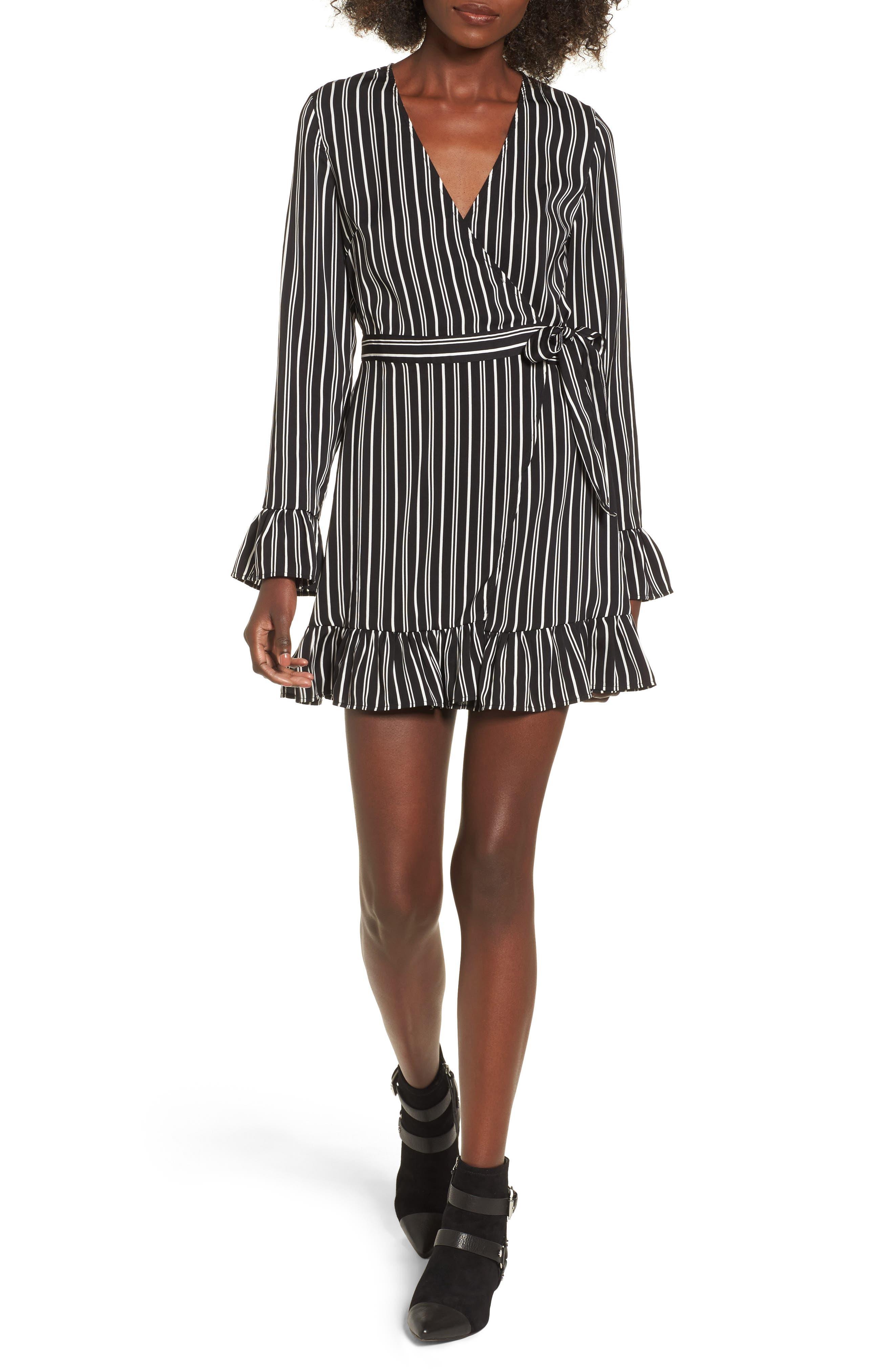 Ophelia Stripe Wrap Dress,                         Main,                         color, Black W/ Ivory