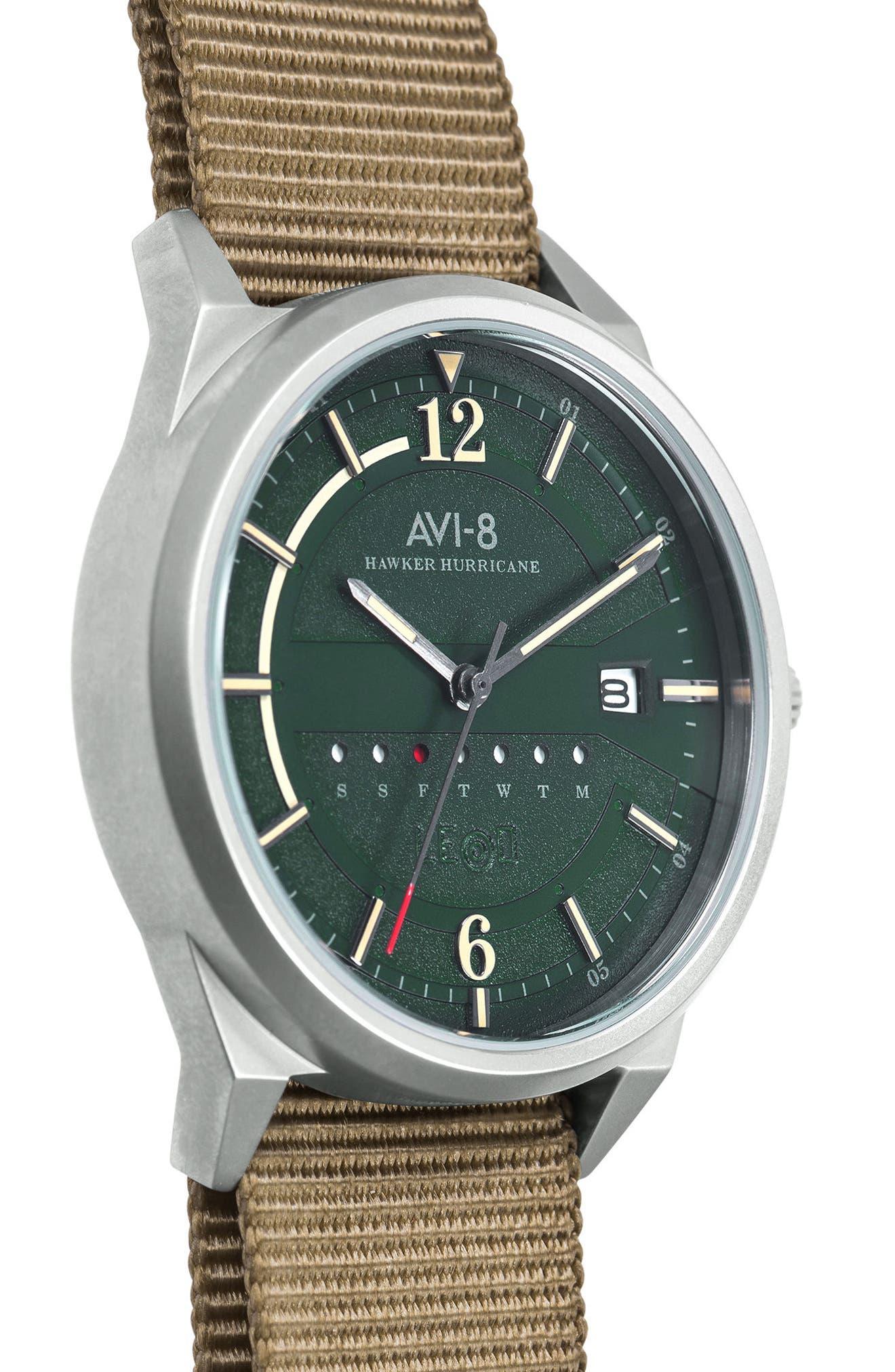 Hawker Hurricane NATO Strap Watch, 38mm,                             Alternate thumbnail 4, color,                             Green/ Fatigue