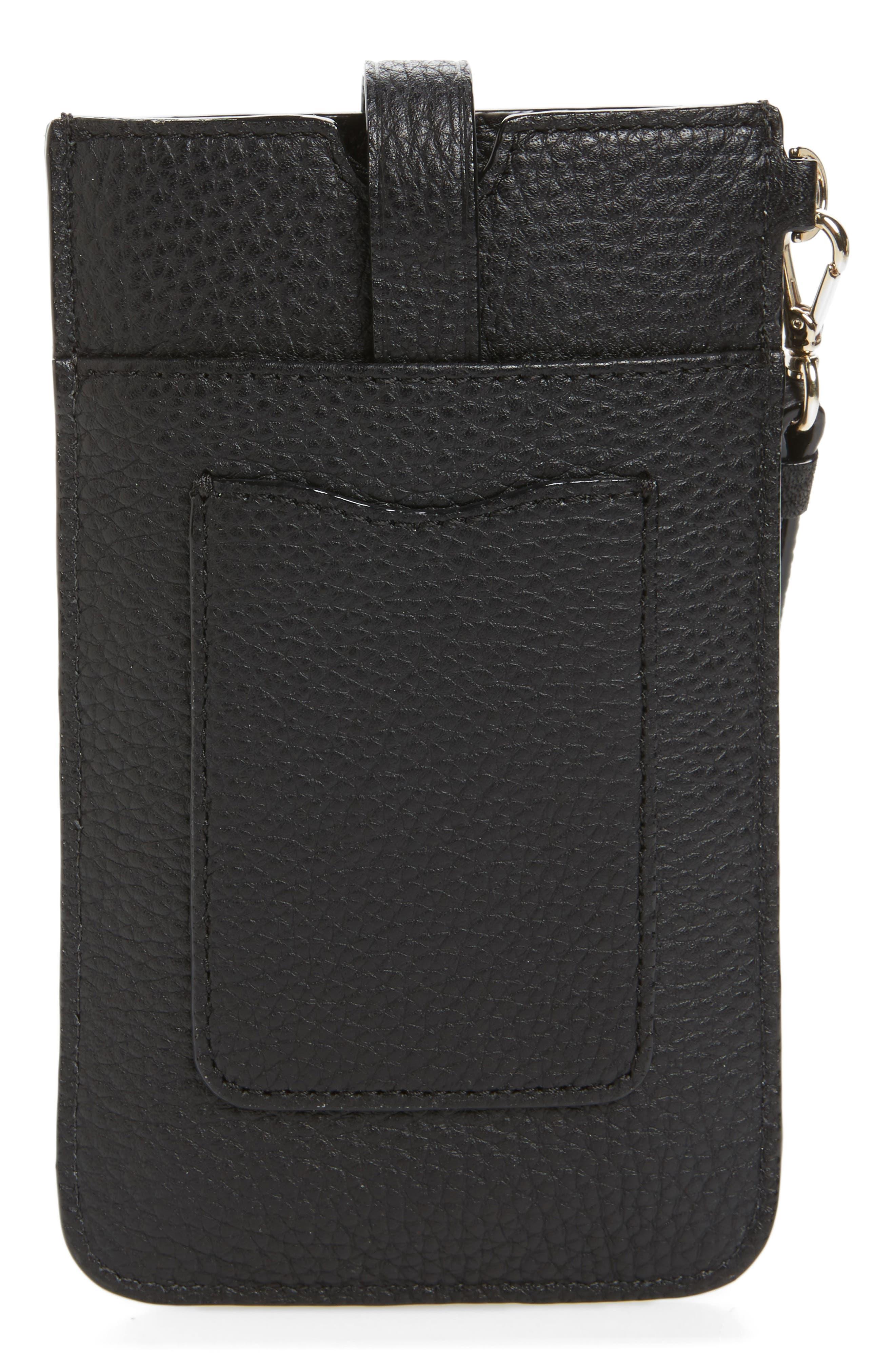 leather smartphone wristlet,                             Alternate thumbnail 2, color,                             Black