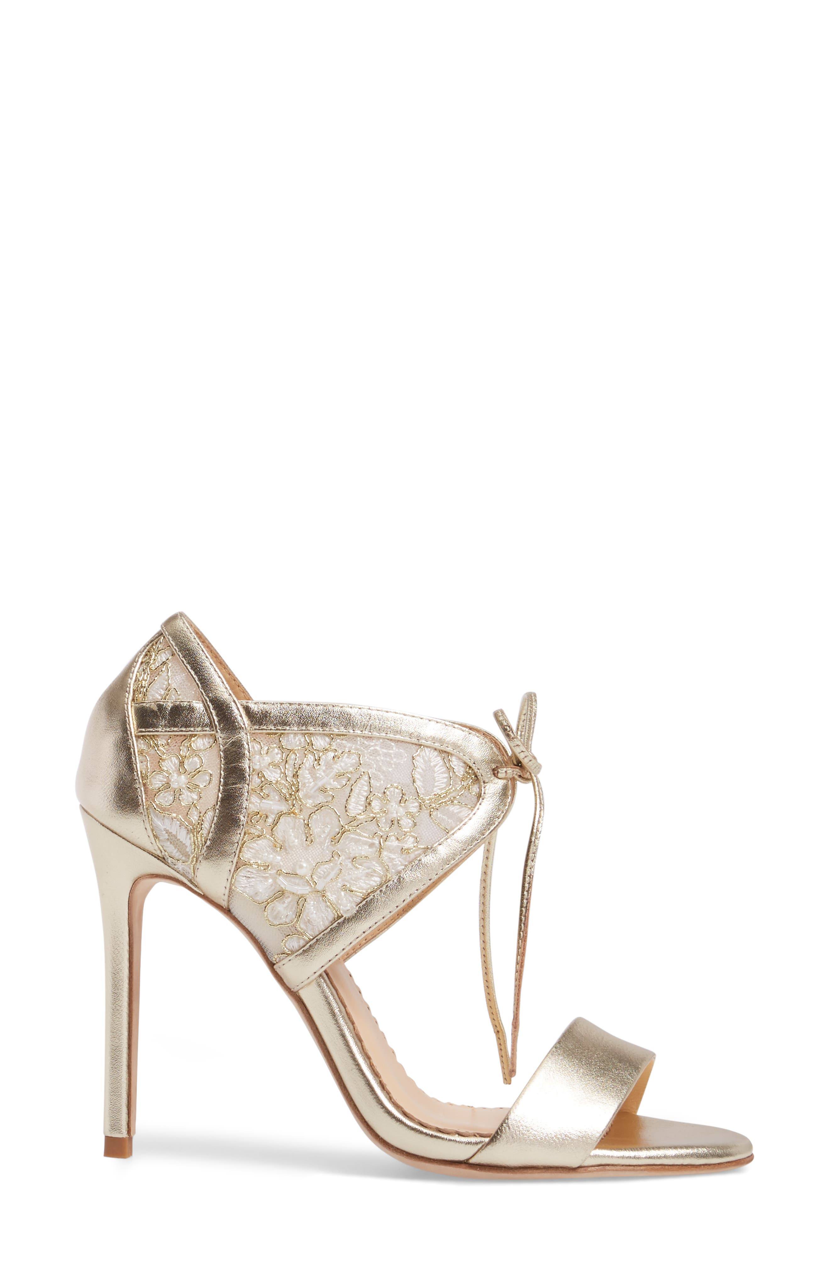 Grace Ankle Cuff Sandal,                             Alternate thumbnail 3, color,                             Gold Lace