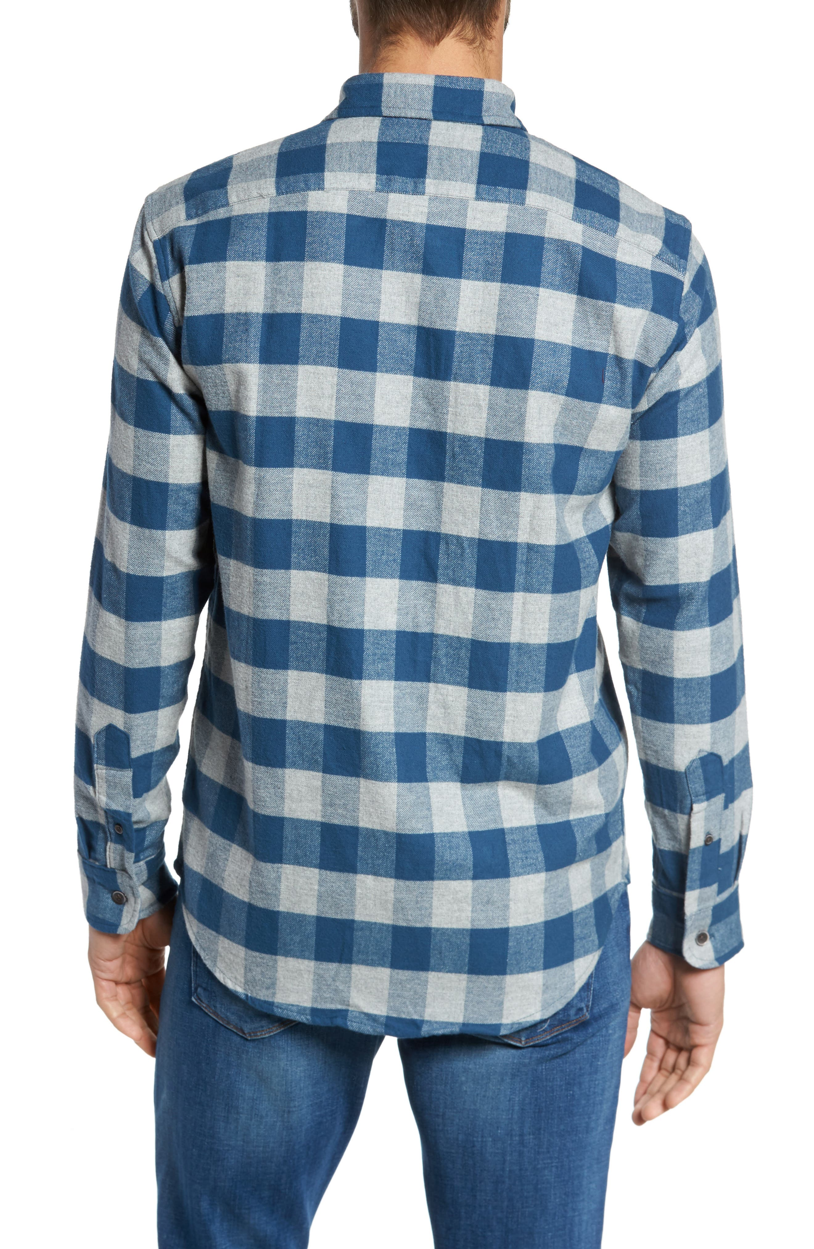 Buffalo Check Flannel Shirt,                             Alternate thumbnail 2, color,                             Teal/ Med Grey Heather