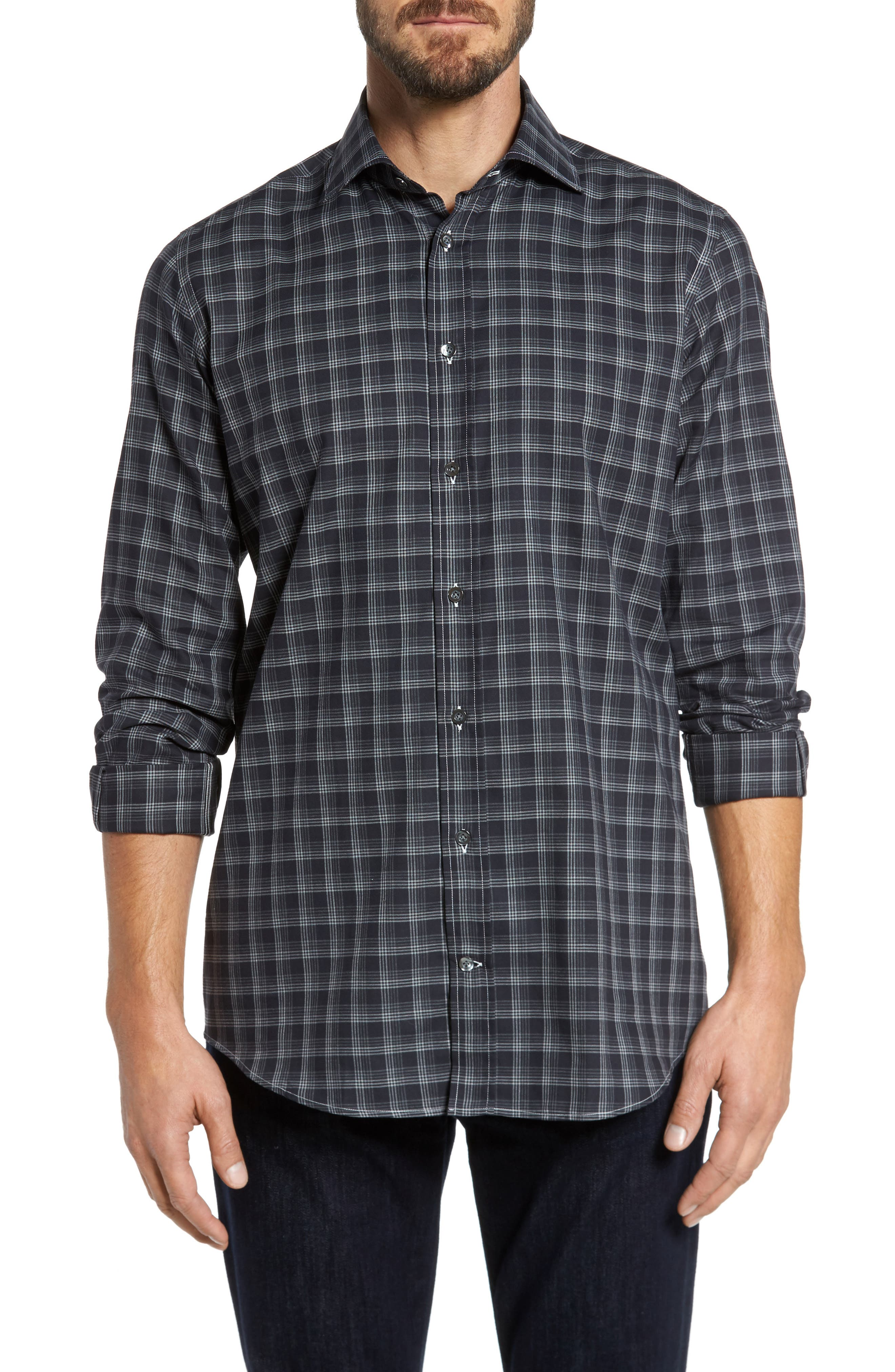 Alternate Image 1 Selected - Luciano Barbera Classic Fit Plaid Sport Shirt