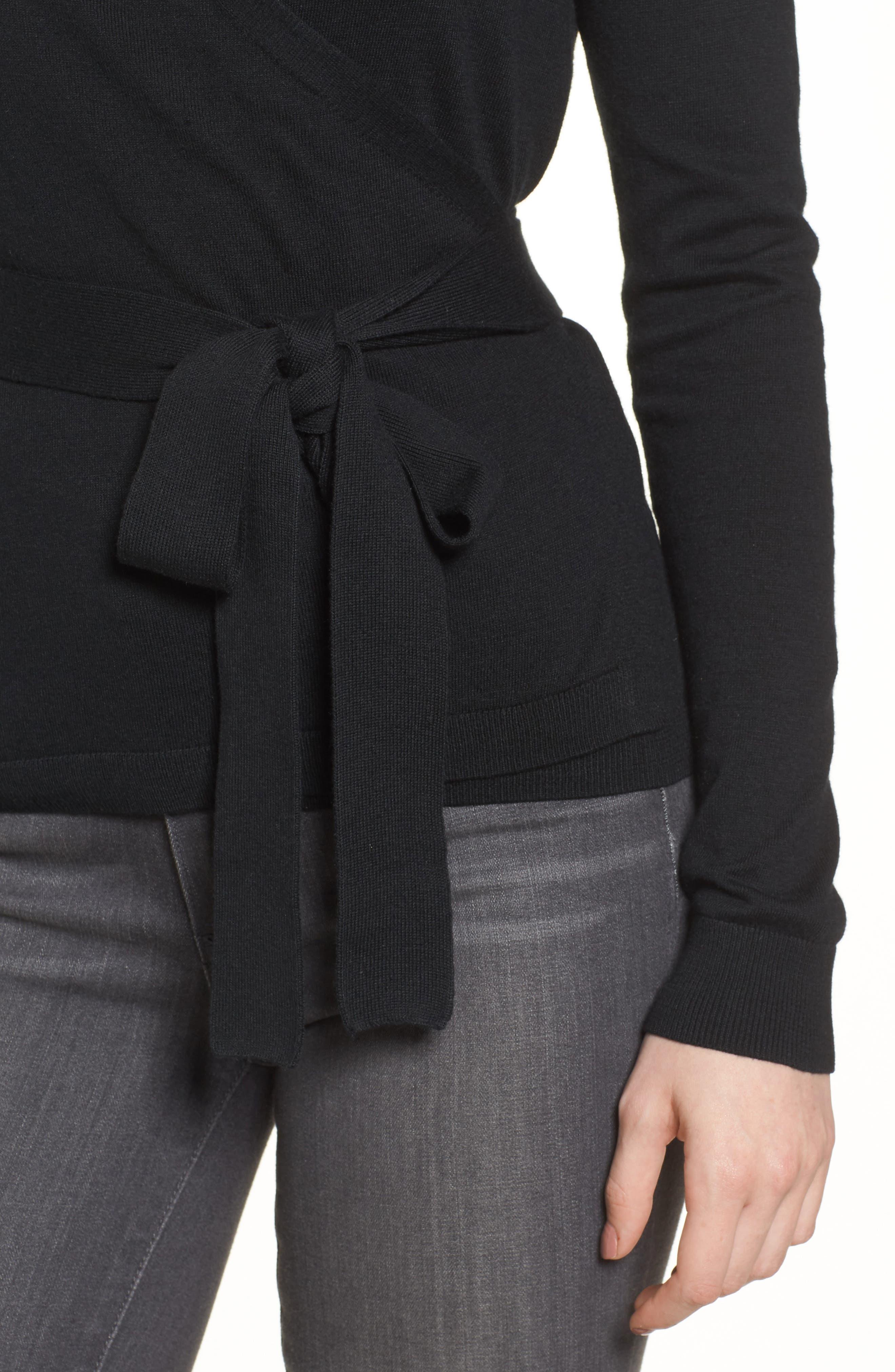 Ballet Wrap Sweater,                             Alternate thumbnail 4, color,                             Black
