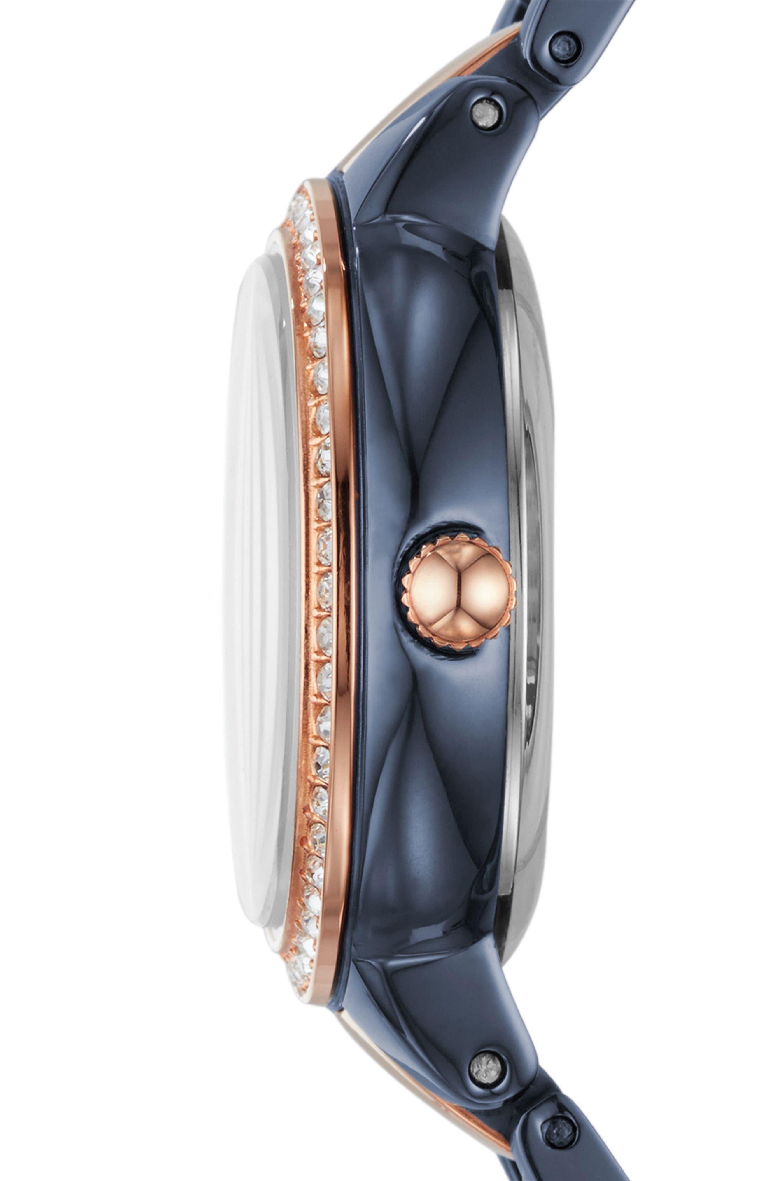 Virginia Crystal Bracelet Watch, 30mm,                             Alternate thumbnail 2, color,                             Blue/ Rose Gold