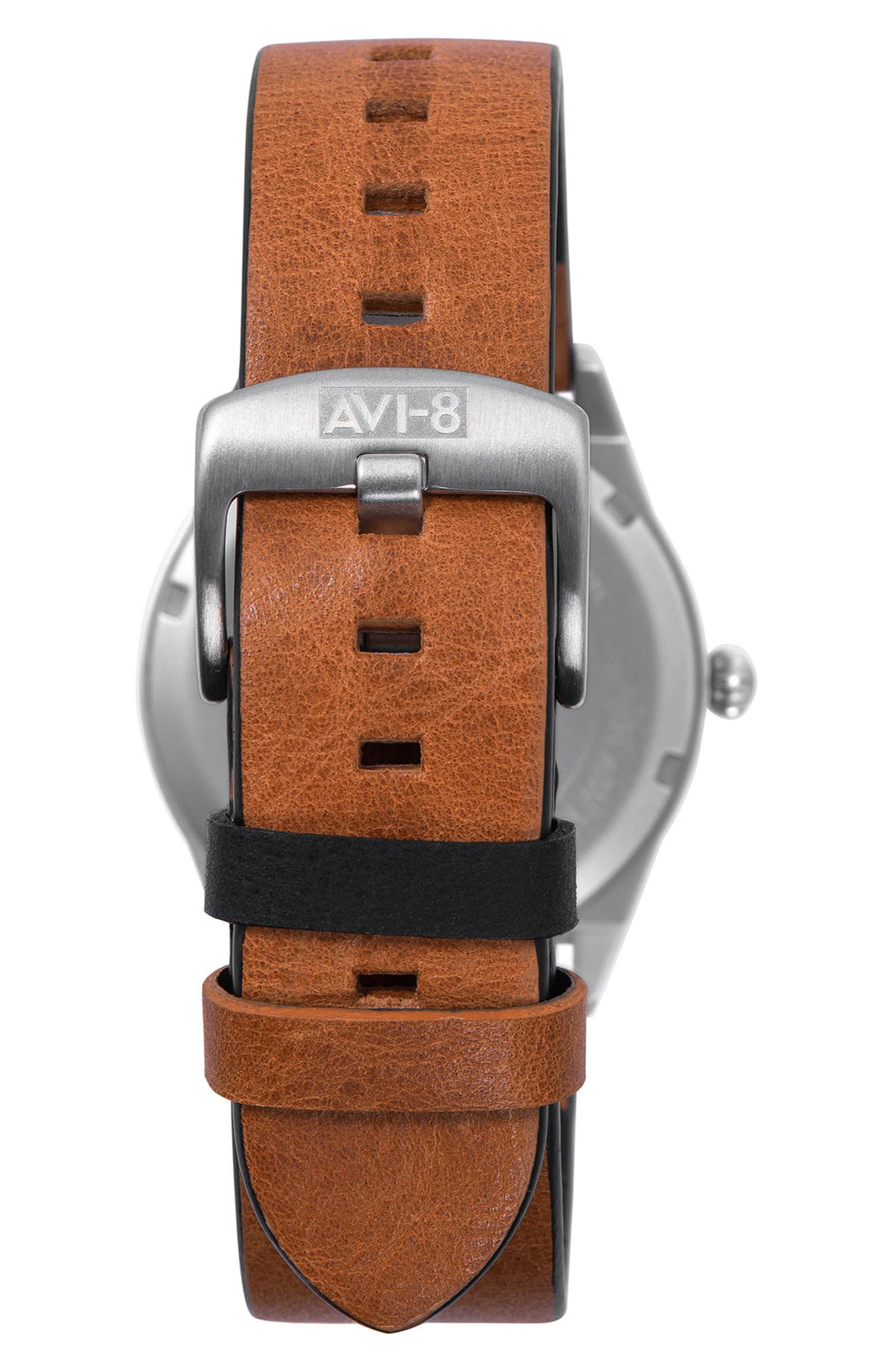 Hawker Hurricane Leather Strap Watch, 38mm,                             Alternate thumbnail 2, color,                             Cream/ Brown