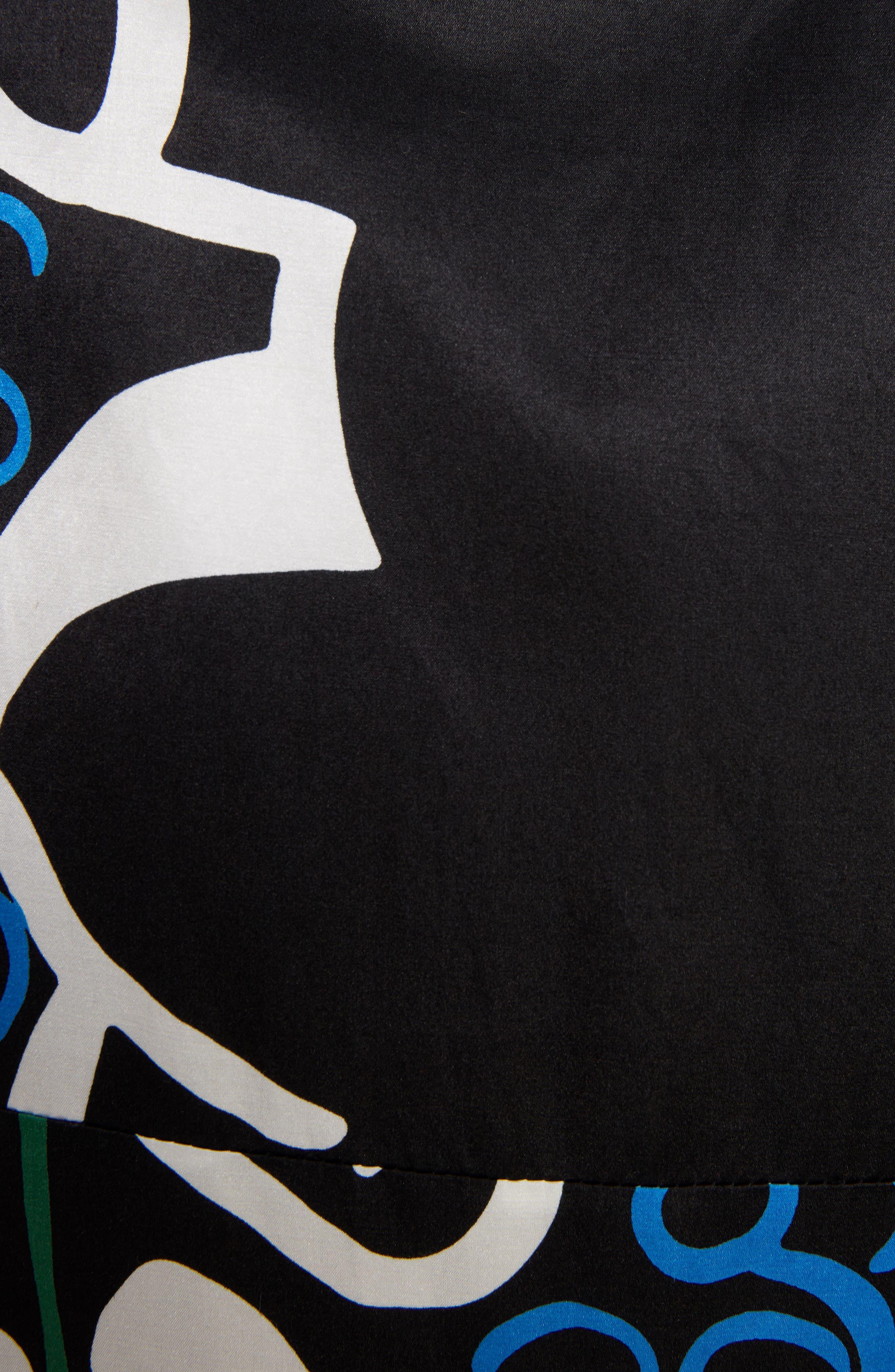 Foxglove Print Dress with Ribbon Detail,                             Alternate thumbnail 5, color,                             Black Foxglove Print