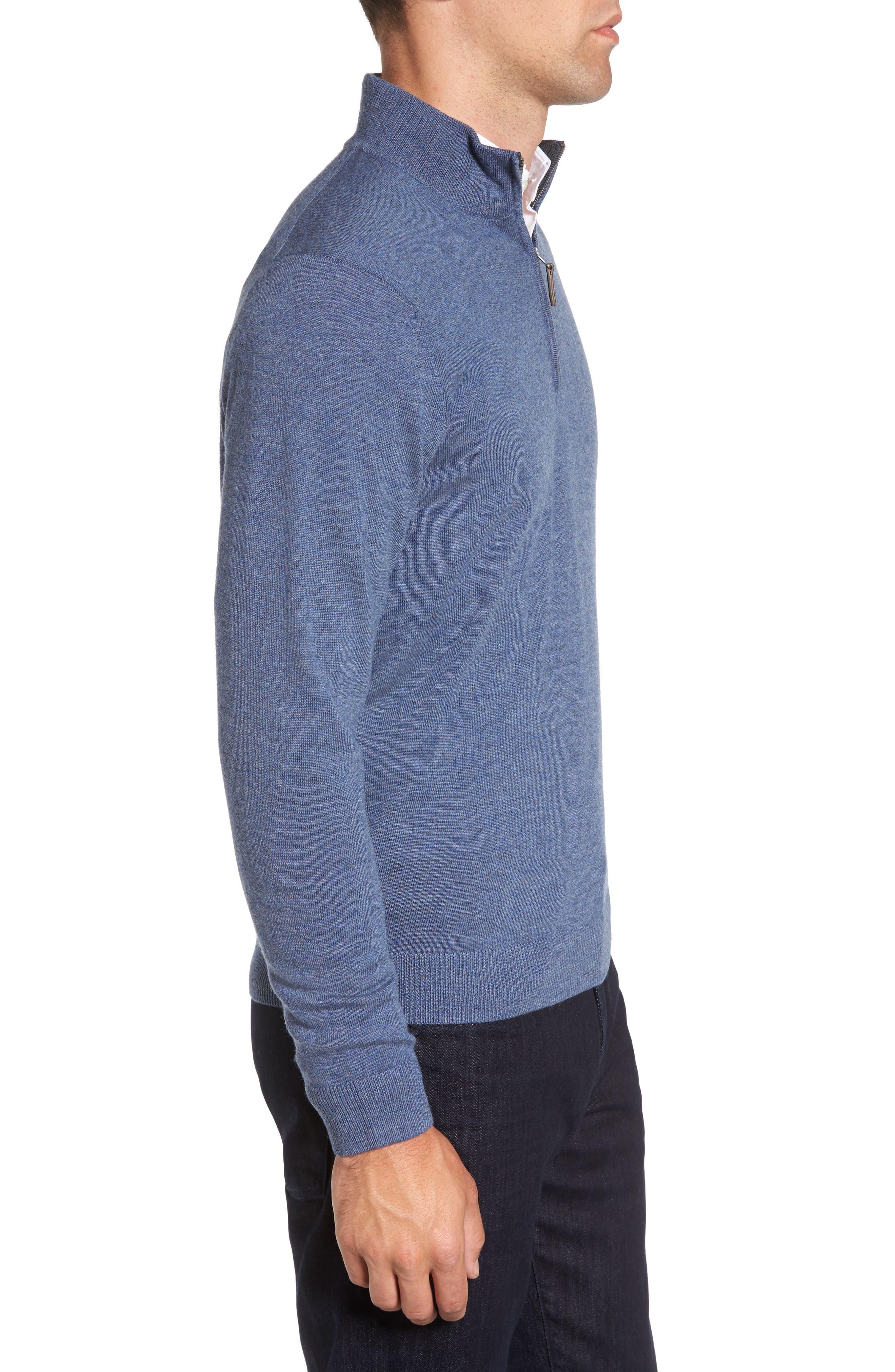 Quarter Zip Merino Wool Pullover,                             Alternate thumbnail 3, color,                             Navy Crown