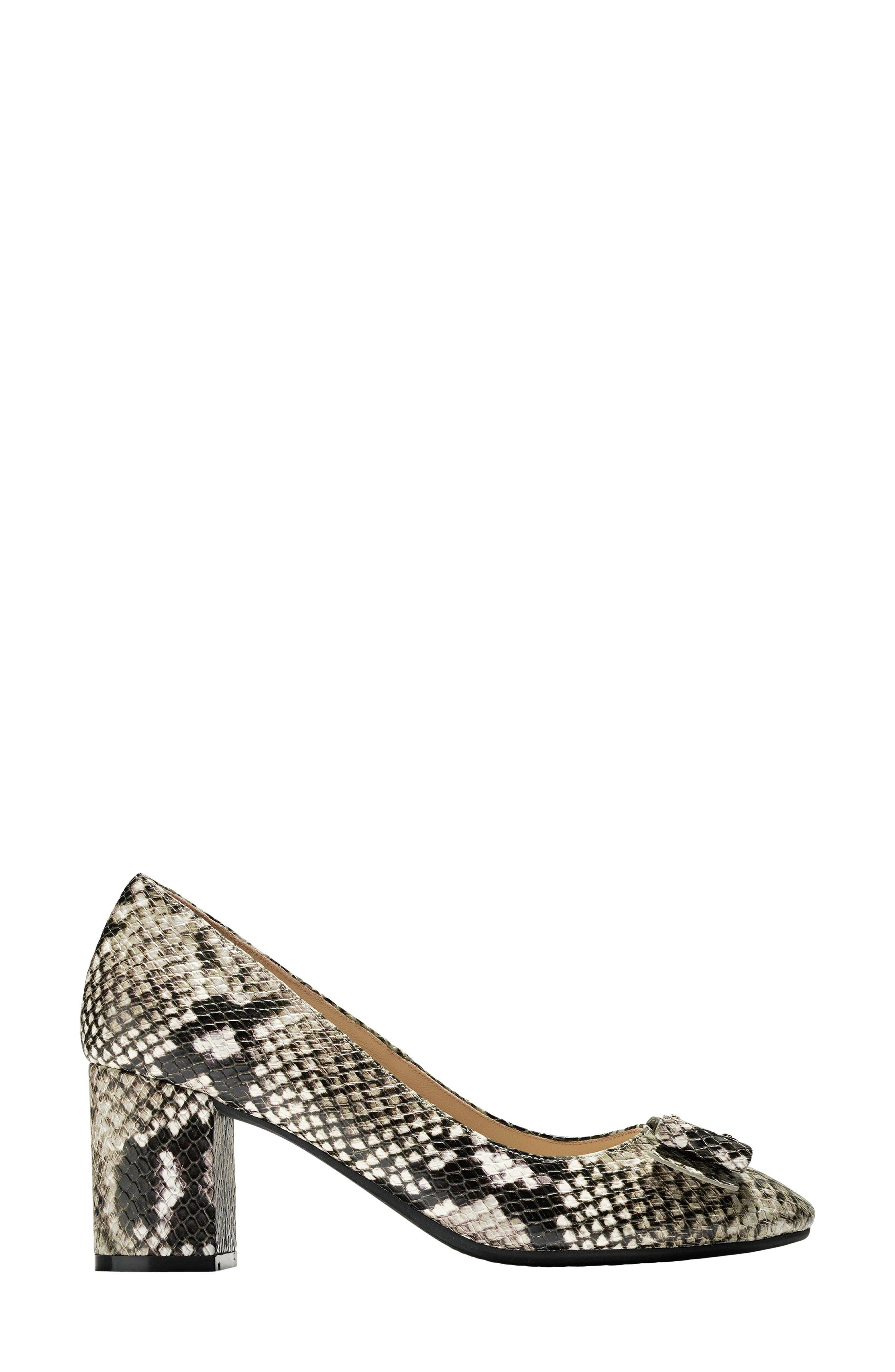 Tali Bow Pump,                             Alternate thumbnail 3, color,                             Beige Snake Print Leather