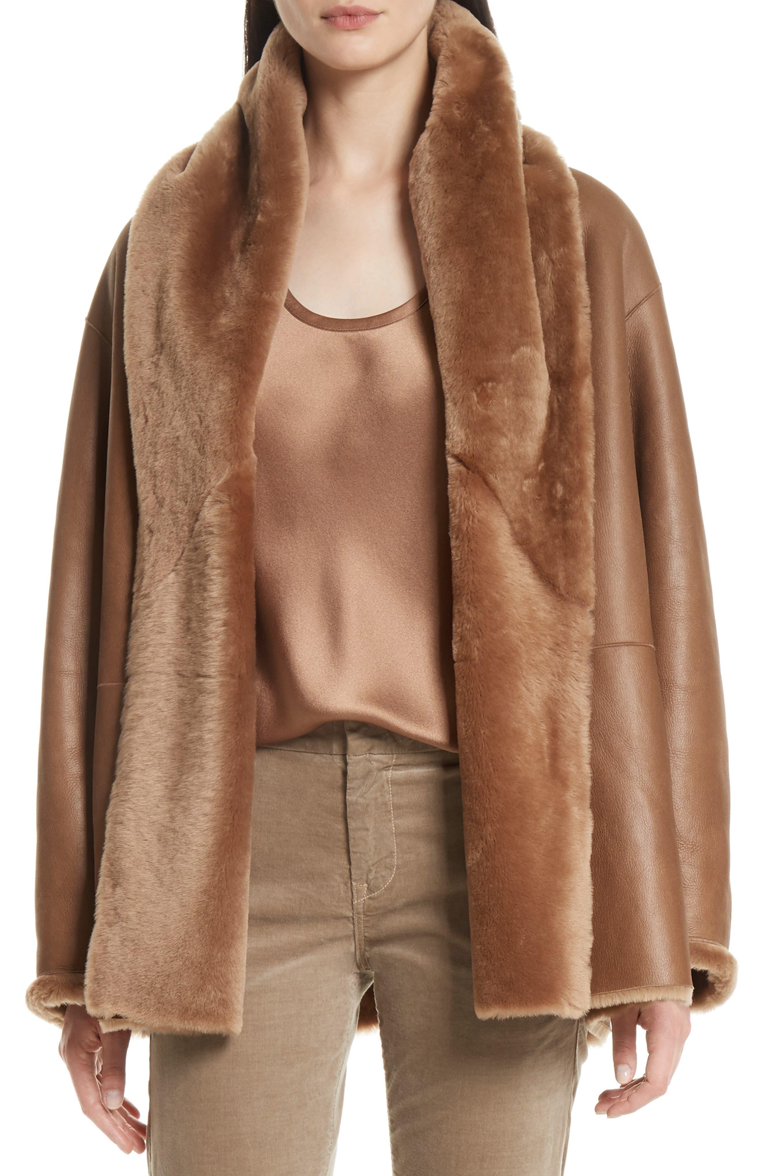 Shawl Collar Genuine Shearling Reversible Coat,                         Main,                         color, Walnut