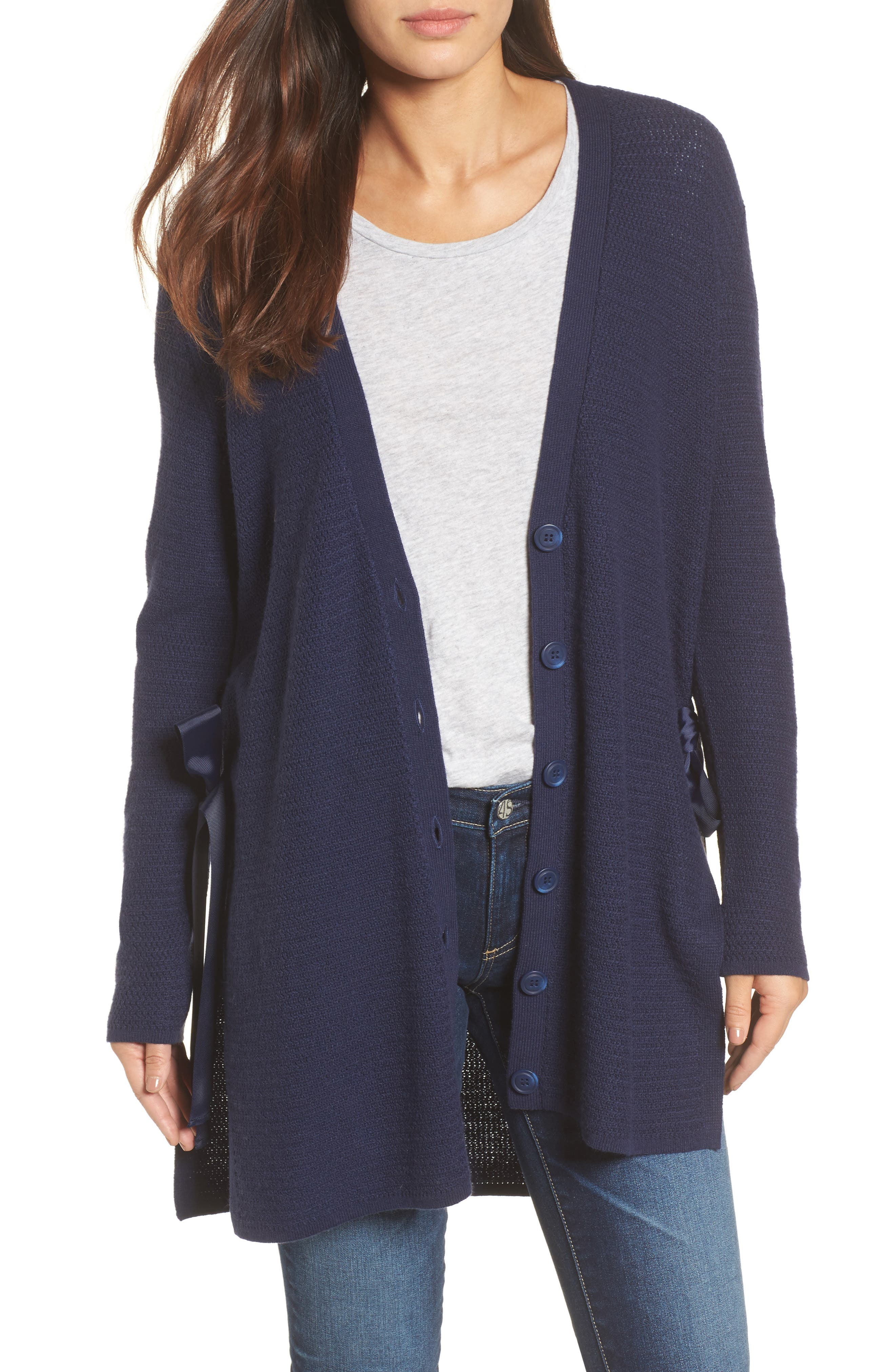 Side Tie Cardigan,                         Main,                         color, Navy Peacoat