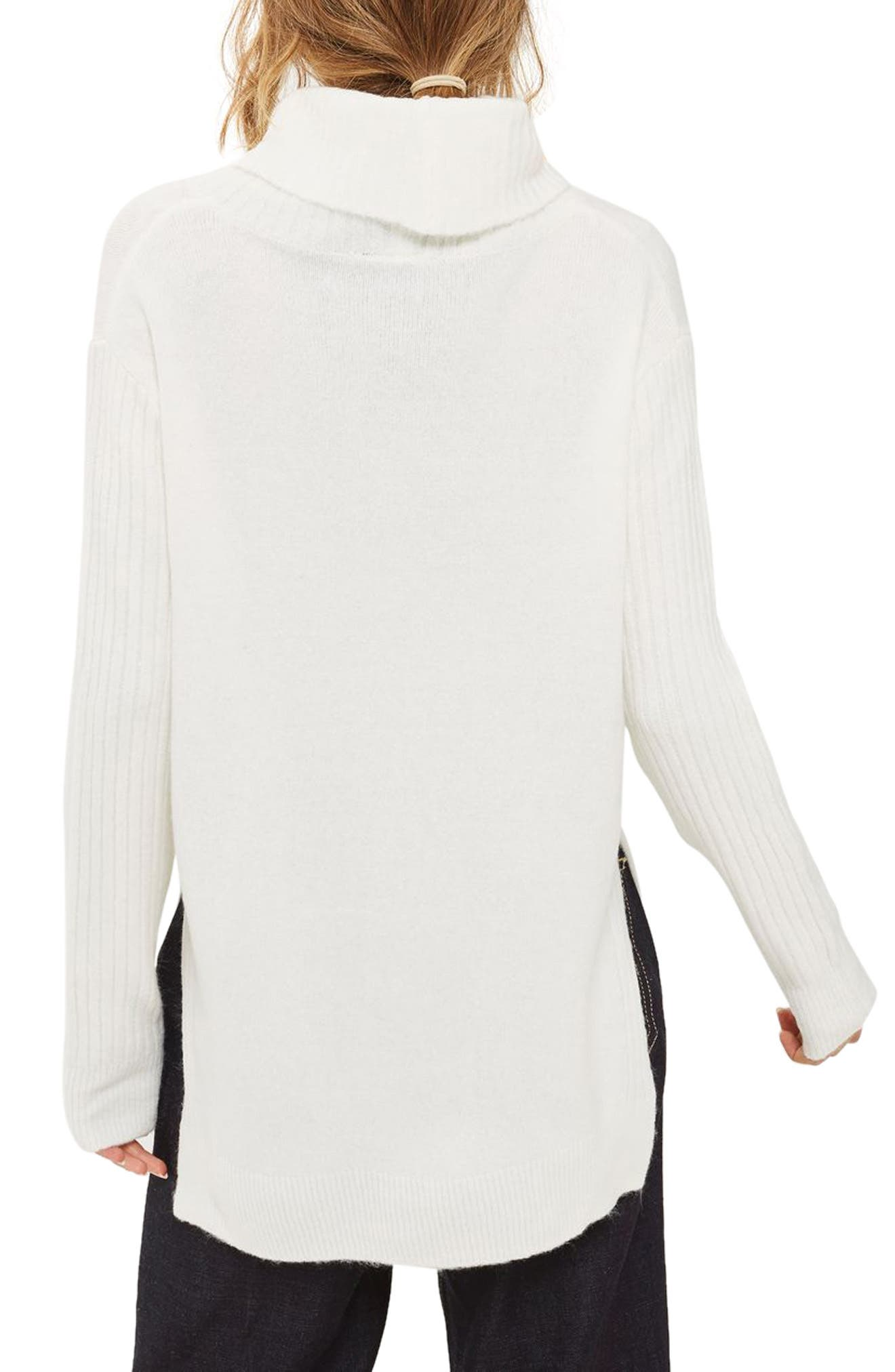 Oversize Turtleneck Sweater,                             Alternate thumbnail 3, color,                             Ivory
