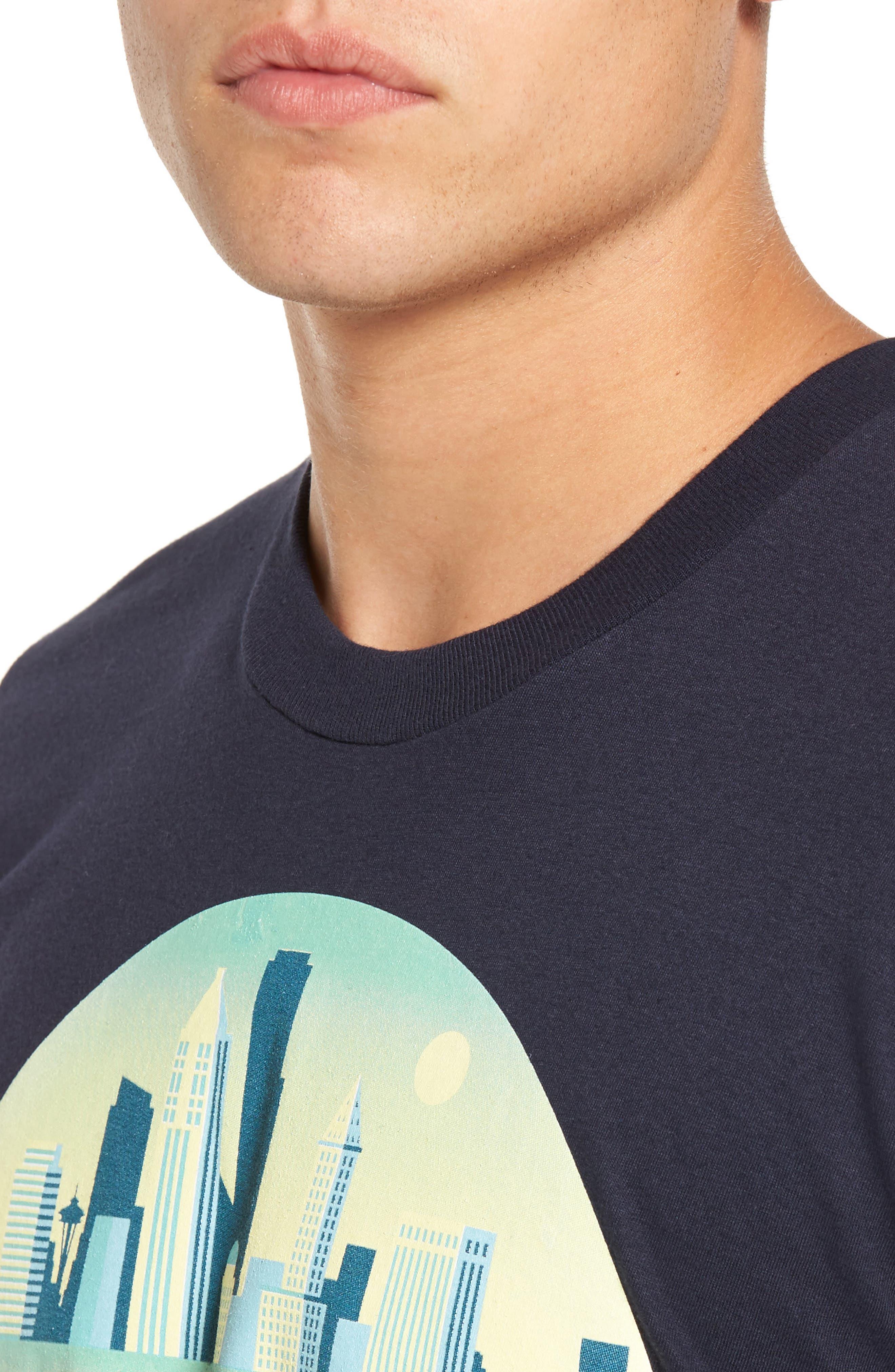 Skyline Arch 3D Graphic T-Shirt,                             Alternate thumbnail 4, color,                             Navy